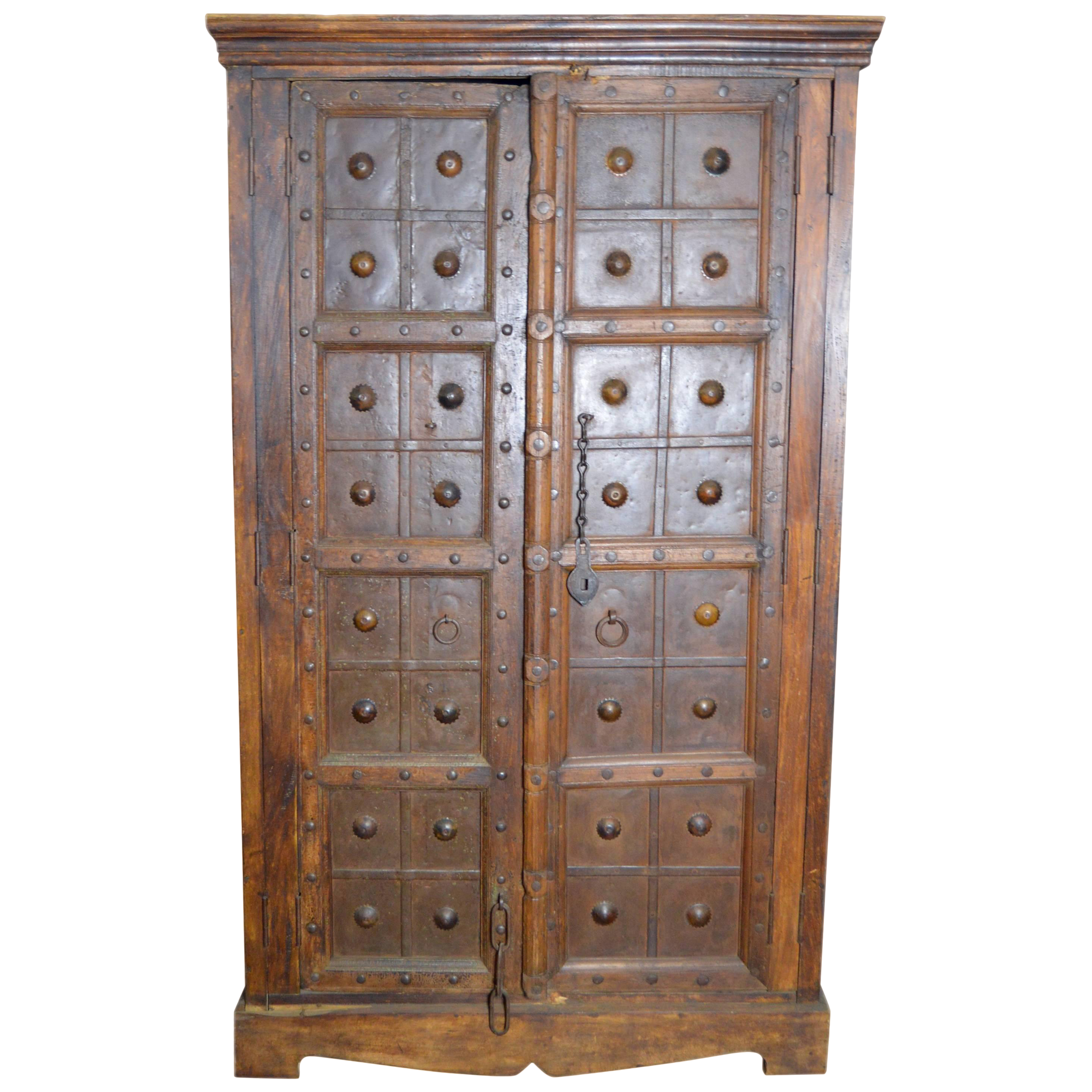 Antique Indonesian Wood And Brass Armoire