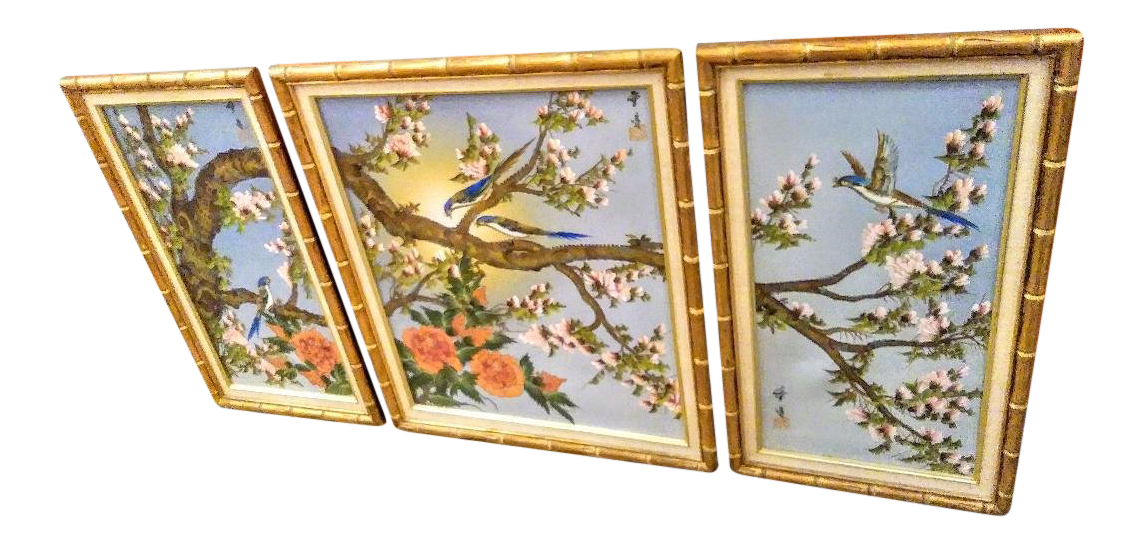 3 Piece Chinoiserie Hand Painted Bird Scene Canvas Prints W/ Bamboo ...