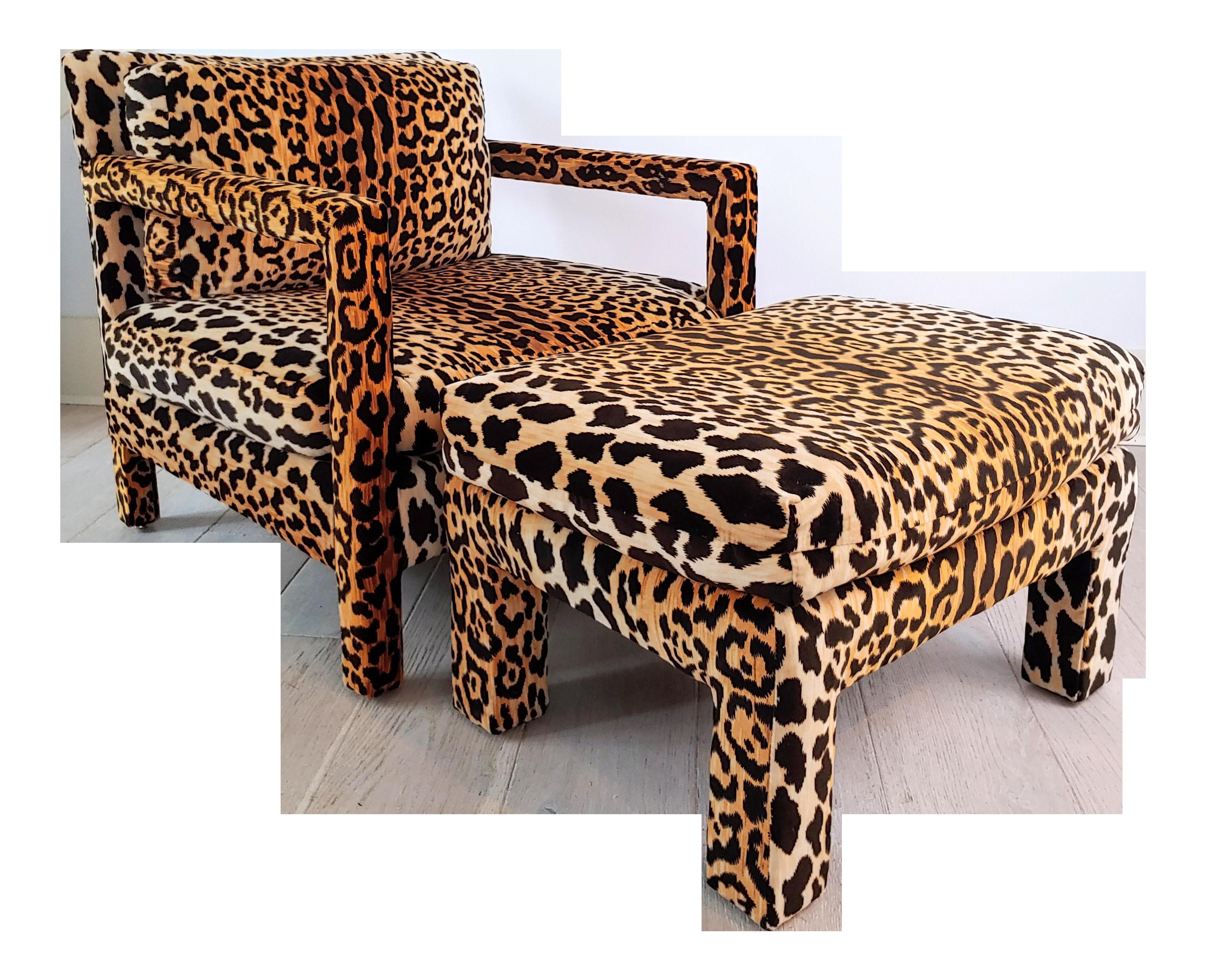 1970s Vintage Velvet Leopard Open Arm Parsons Lounge Chair And Ottoman