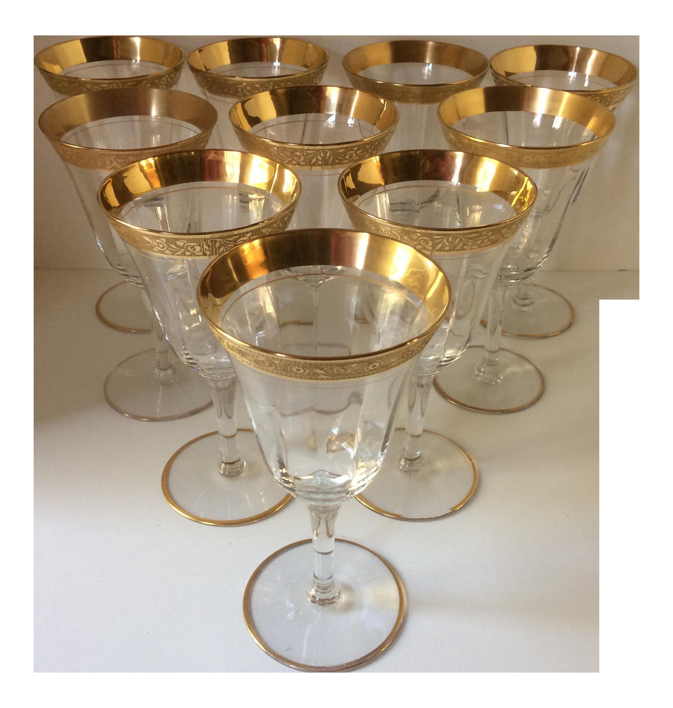 43e0b541578 1930 s Vintage Tiffin-Franciscan Rambler Rose Gold Rim Crystal Glasses - Set  of 10