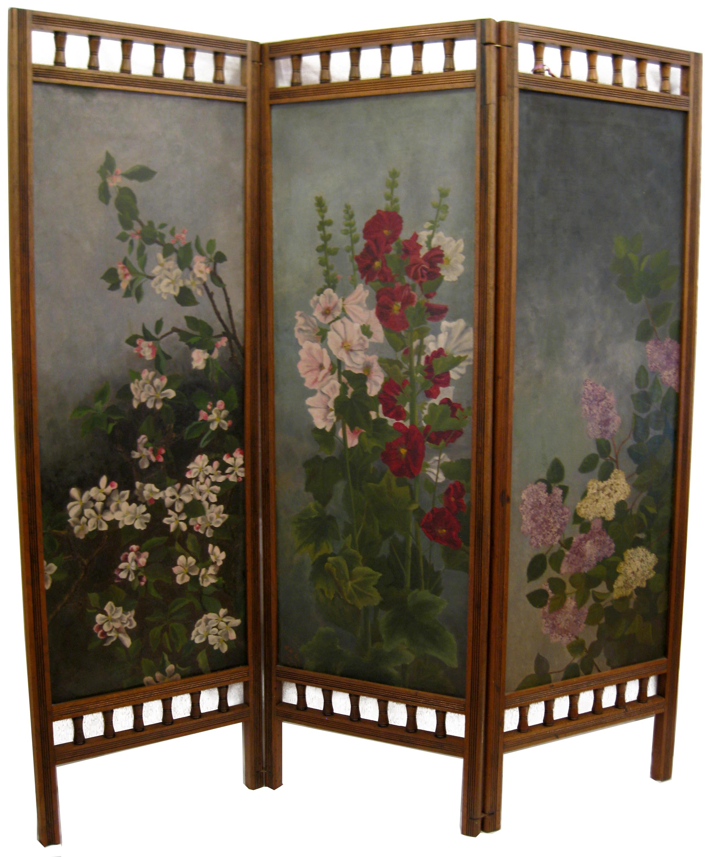 Hand Painted Floral 3 Panel Victorian Screen Chairish