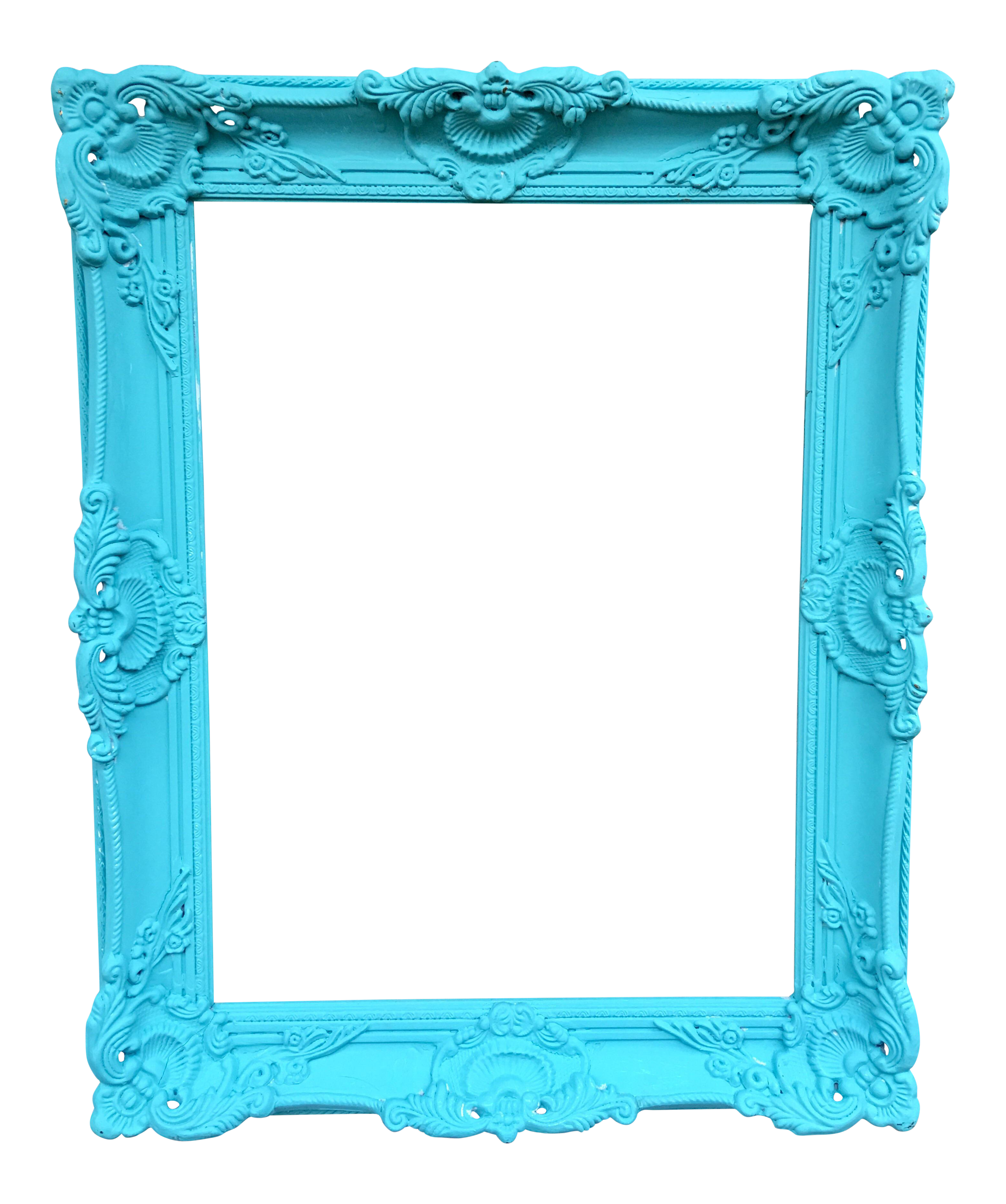 Antique Tiffany Blue Plaster Picture Frame | Chairish