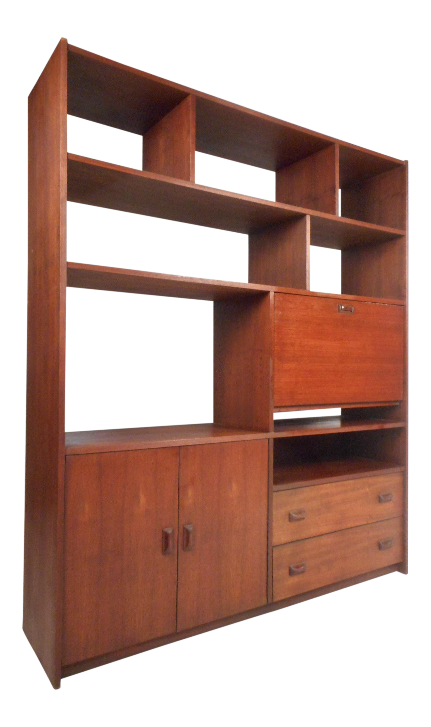 Mid Century Modern Walnut Bookcase Or Room Divider