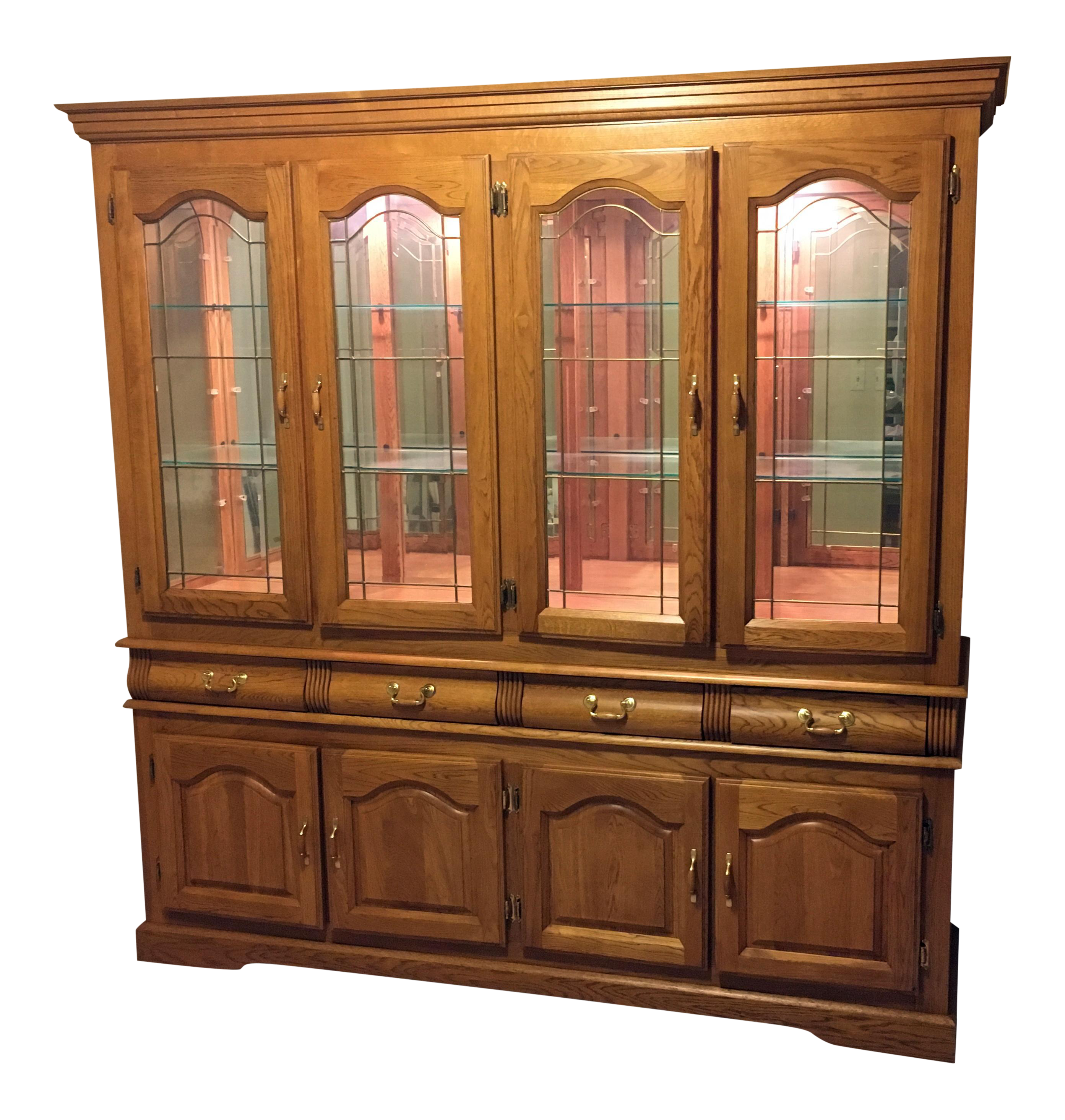 natural american cabinet china solid timber georgian display oak cupboard