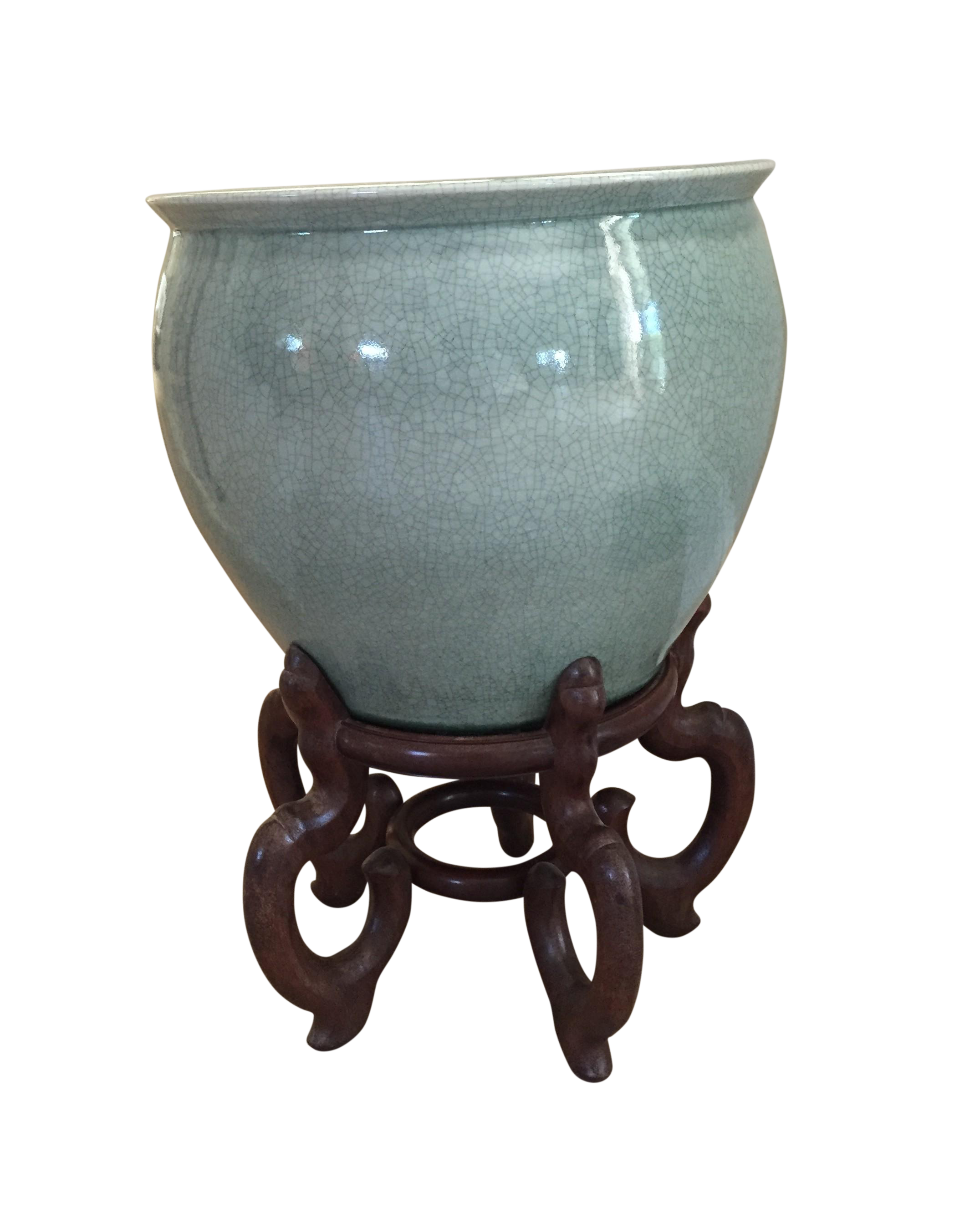 Celadon Crackle Glaze Fish Bowl Planters Pair Chairish