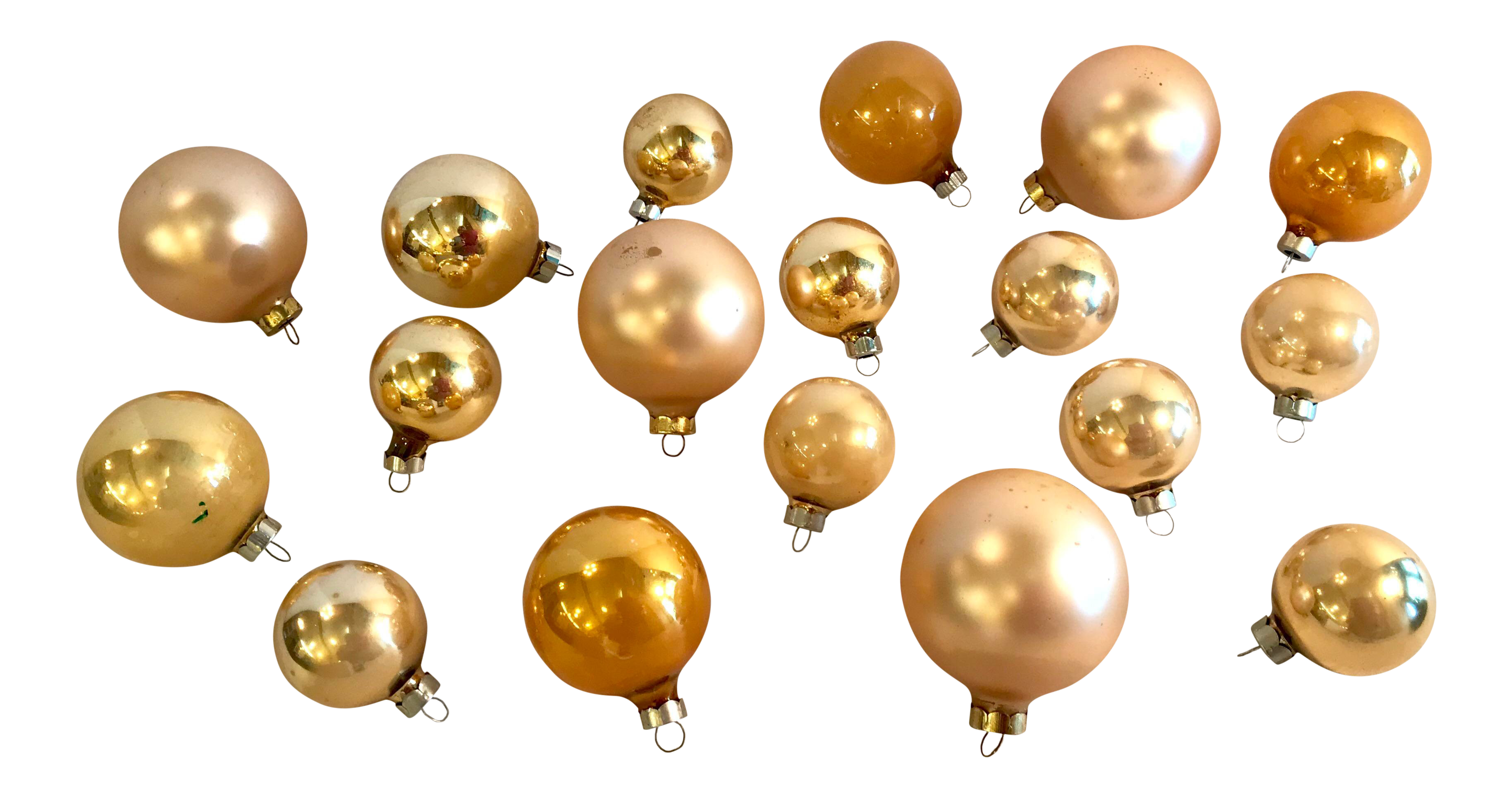 20th Century Americana Gold Glass Holiday Christmas Ornaments Set Of 18