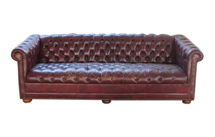 Charmant Exquisite 1950u0027s Vintage Distressed Burgundy Leather Chesterfield Sofa |  DECASO