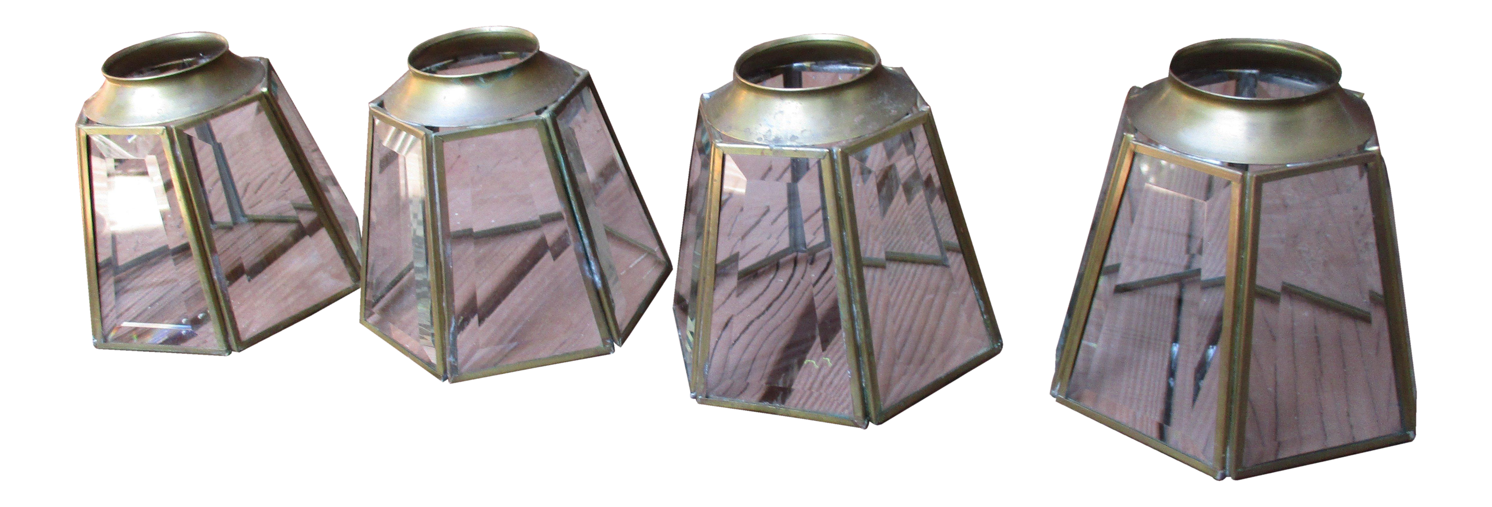 Vintage MCM Brass Glass Hexagon Chandelier Light Covers