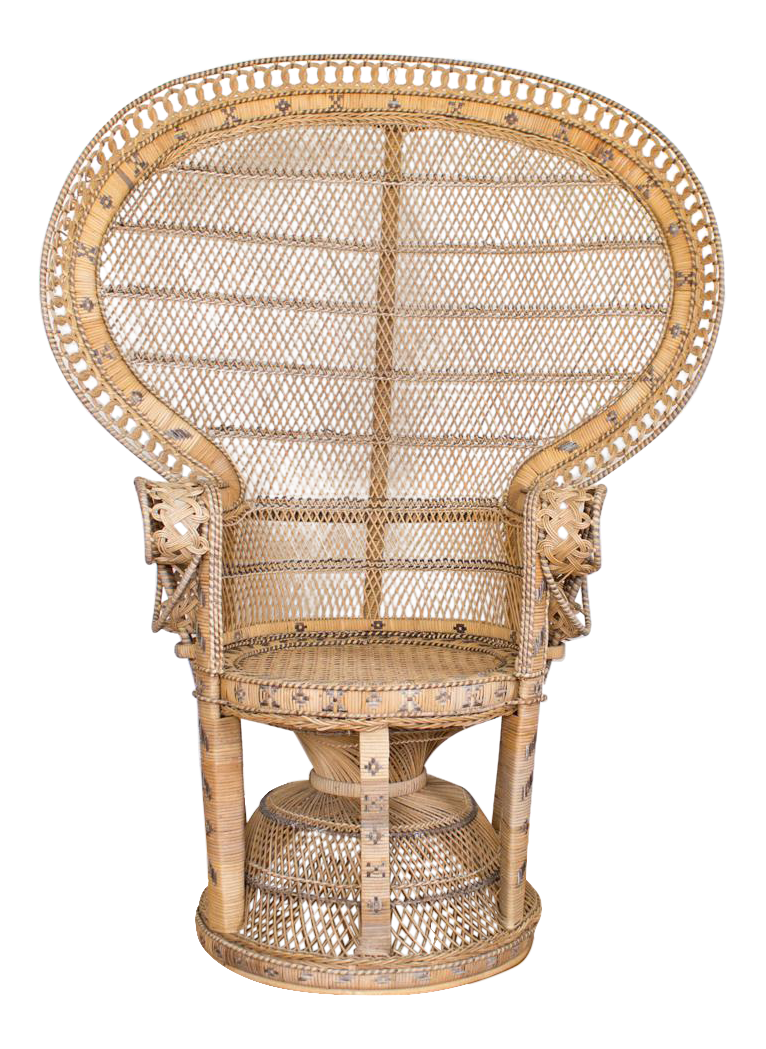 natural raw rattan and wicker bohemian peacock chair with black