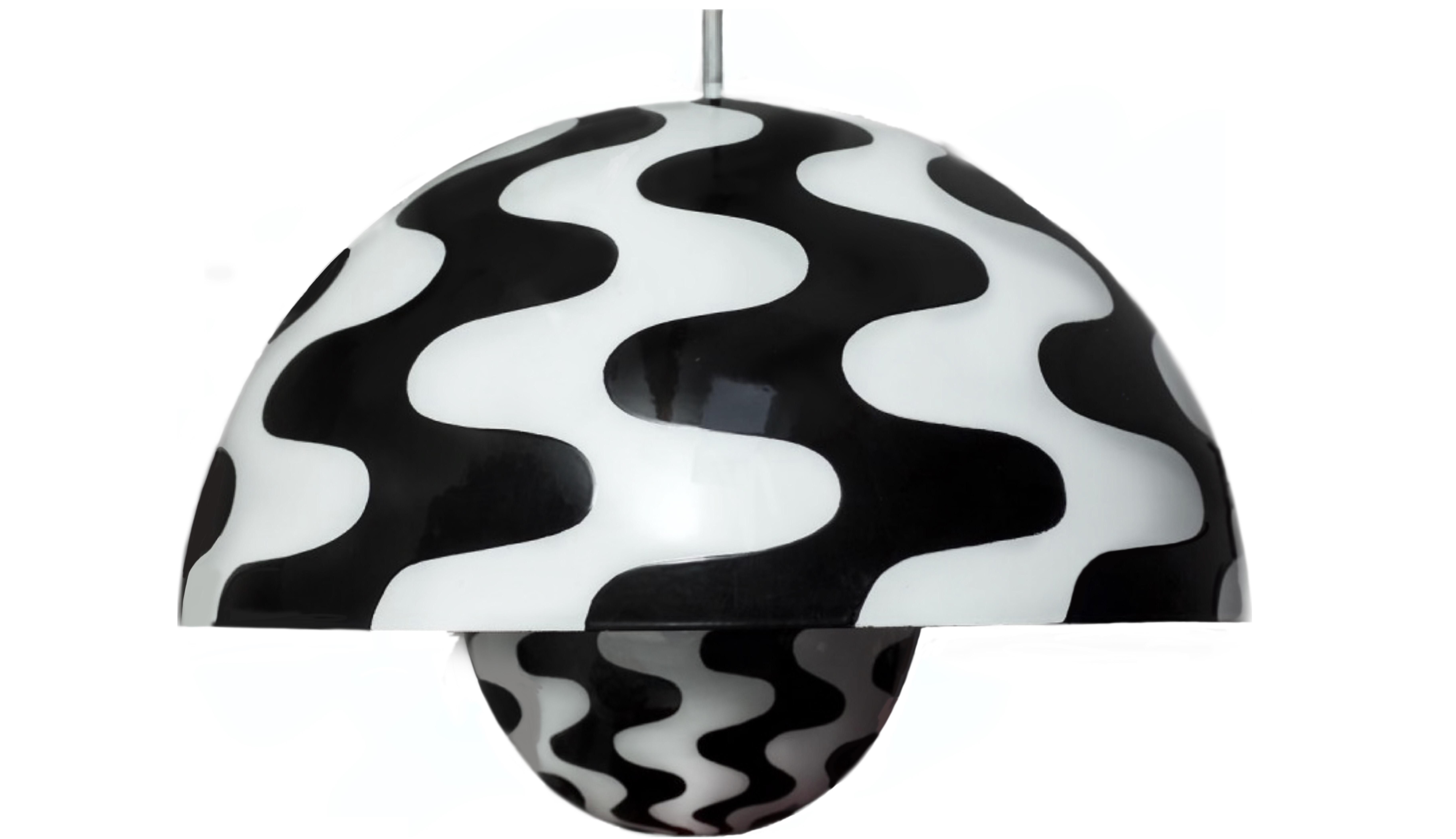 1971 Verner Panton Big Flowerpot Pendant In Black White Chairish