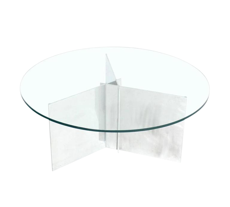 Fine Paul Mayen For Habitat Round Glass Topped Triangular Based Coffee Table Decaso