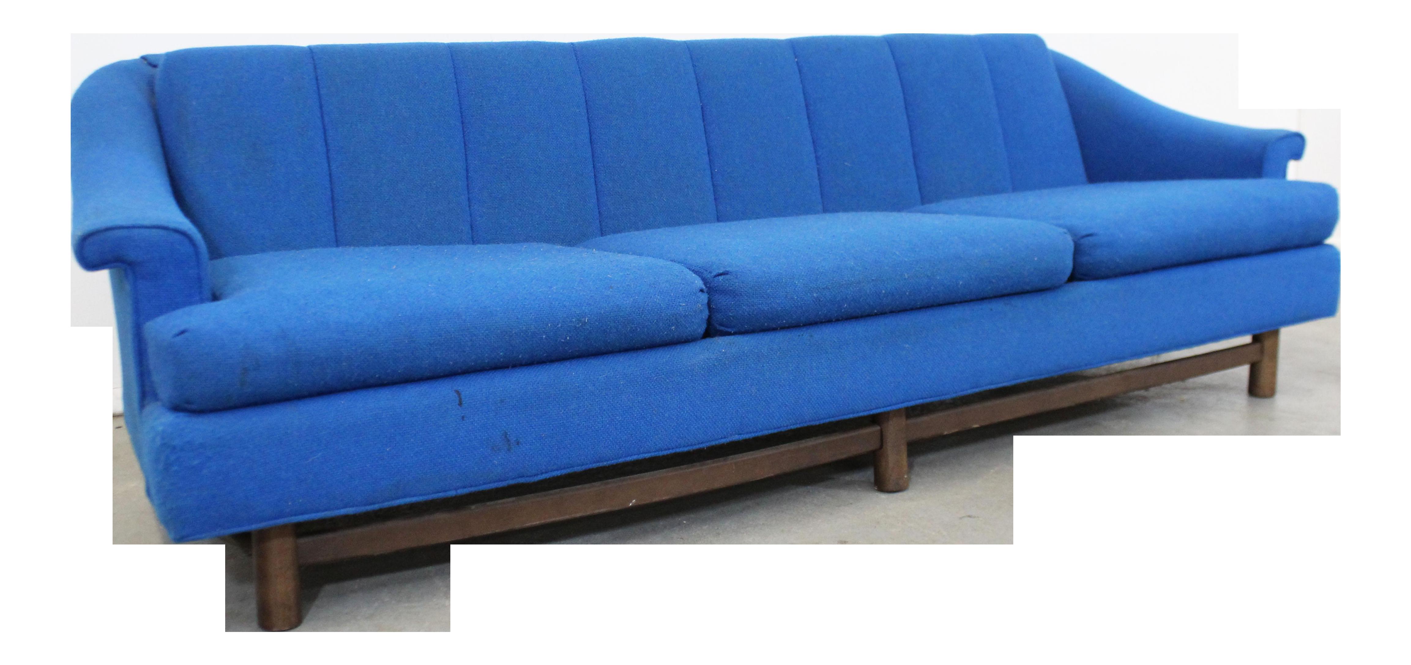 Mid Century Danish Modern Blue 3 Seater Sofa On Wood Base