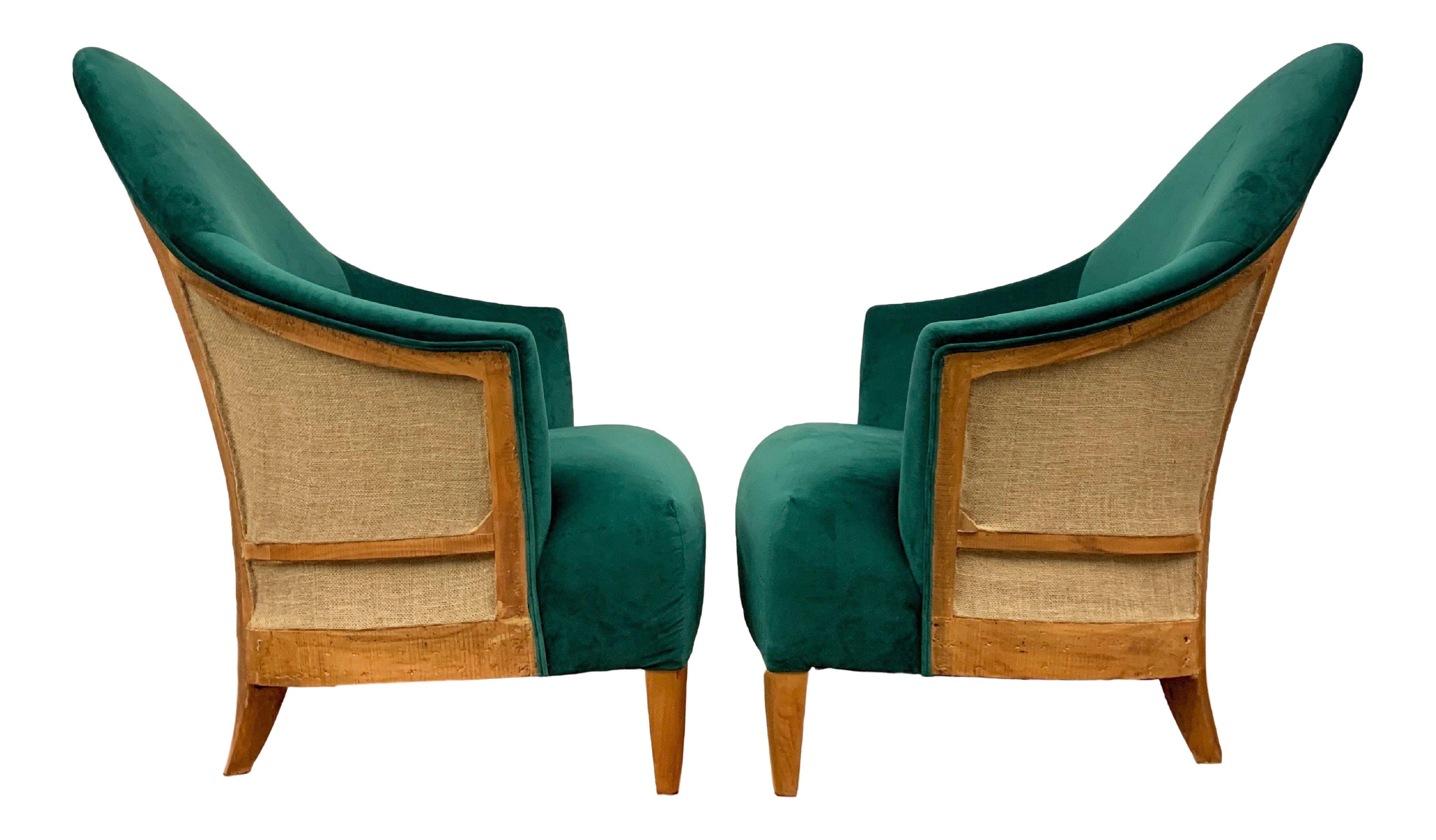 Late 20th Century Custom Emerald Green Velvet Exposed Back Lounge Accent Chairs A Pair Chairish