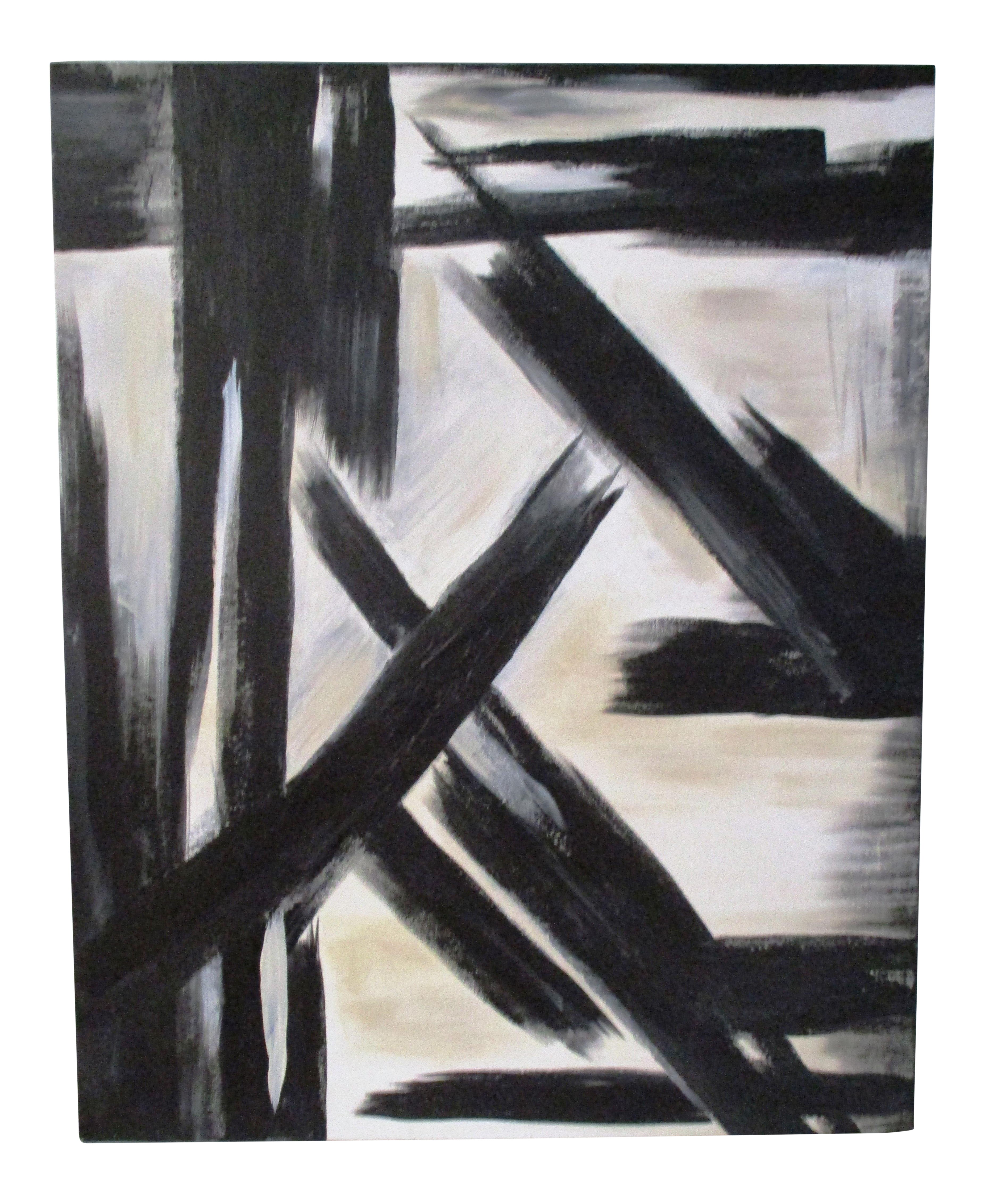 Splintered abstract black white acrylic painting chairish