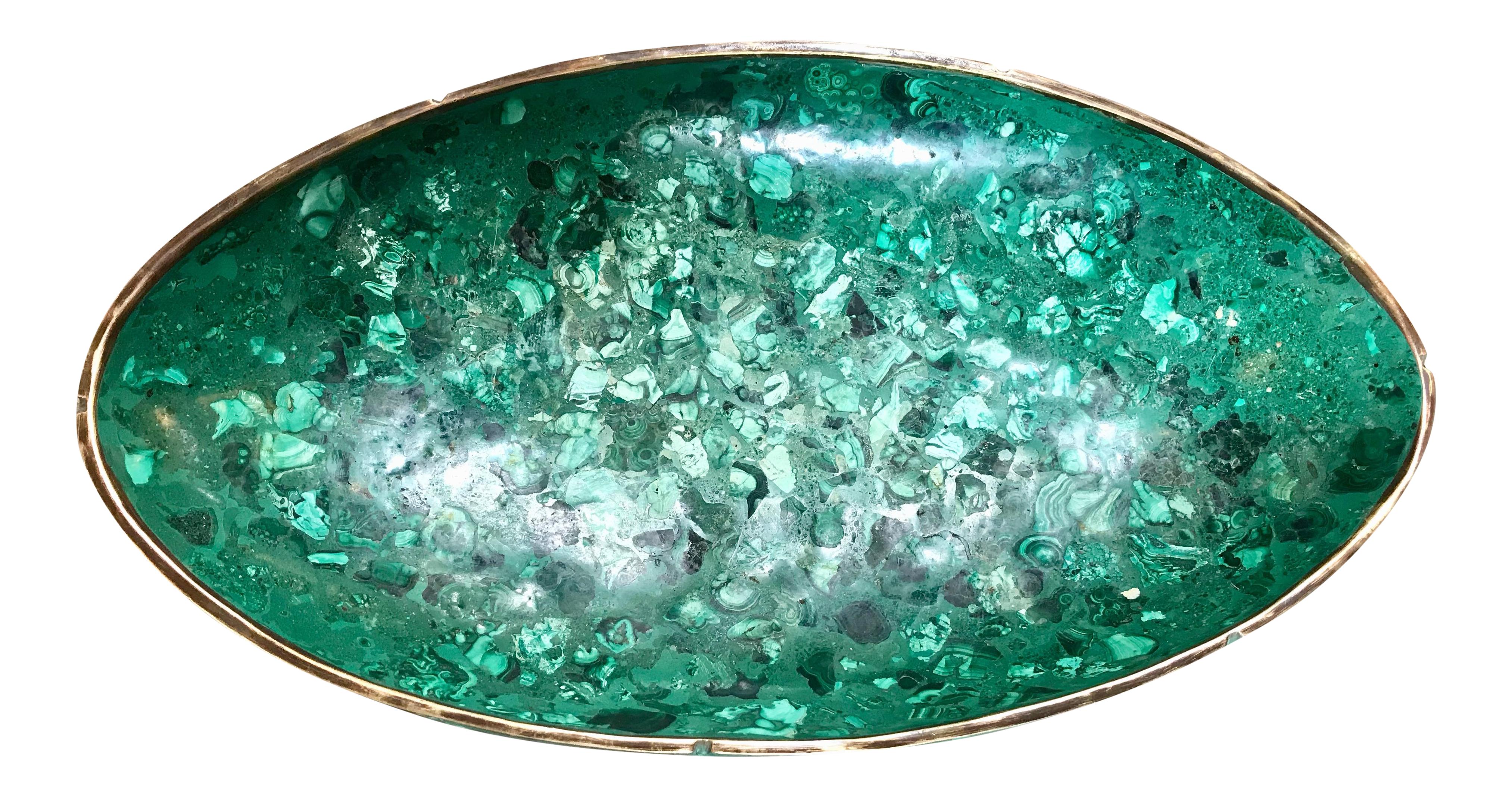 1960s Vintage Italian Polished Green Marble Oval High Sided Brass