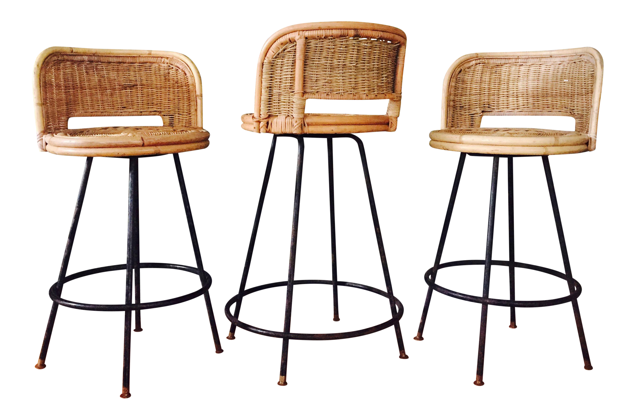 Outstanding Mid Century Rattan Wrought Iron Counter Height Bar Stools Set Of 3 Pabps2019 Chair Design Images Pabps2019Com