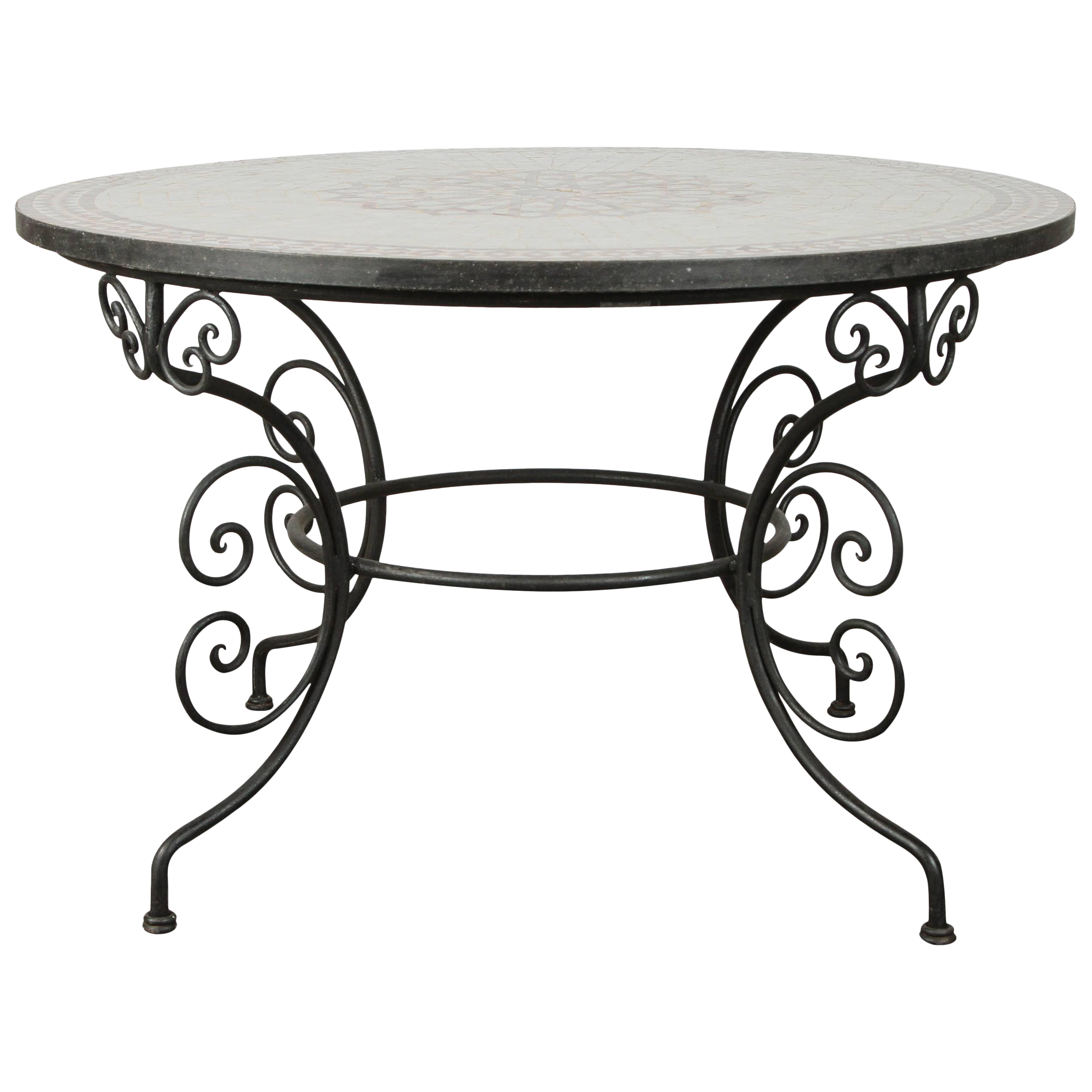 Superior Moroccan Outdoor Round Mosaic Tile Dining Table On Iron Base 47  In. | DECASO