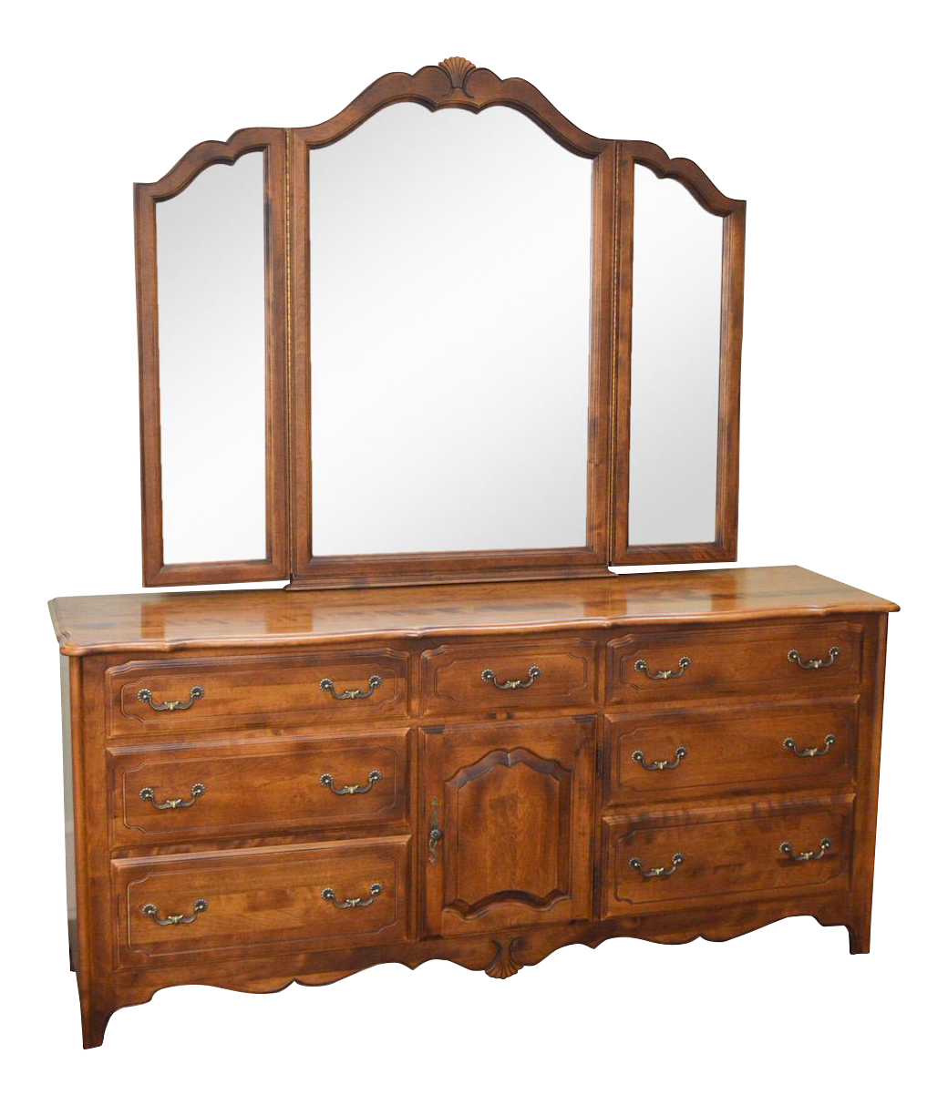 Ethan Allen French Country Coffee Table: Ethan Allen Country French Dresser W/ Trifold Mirror