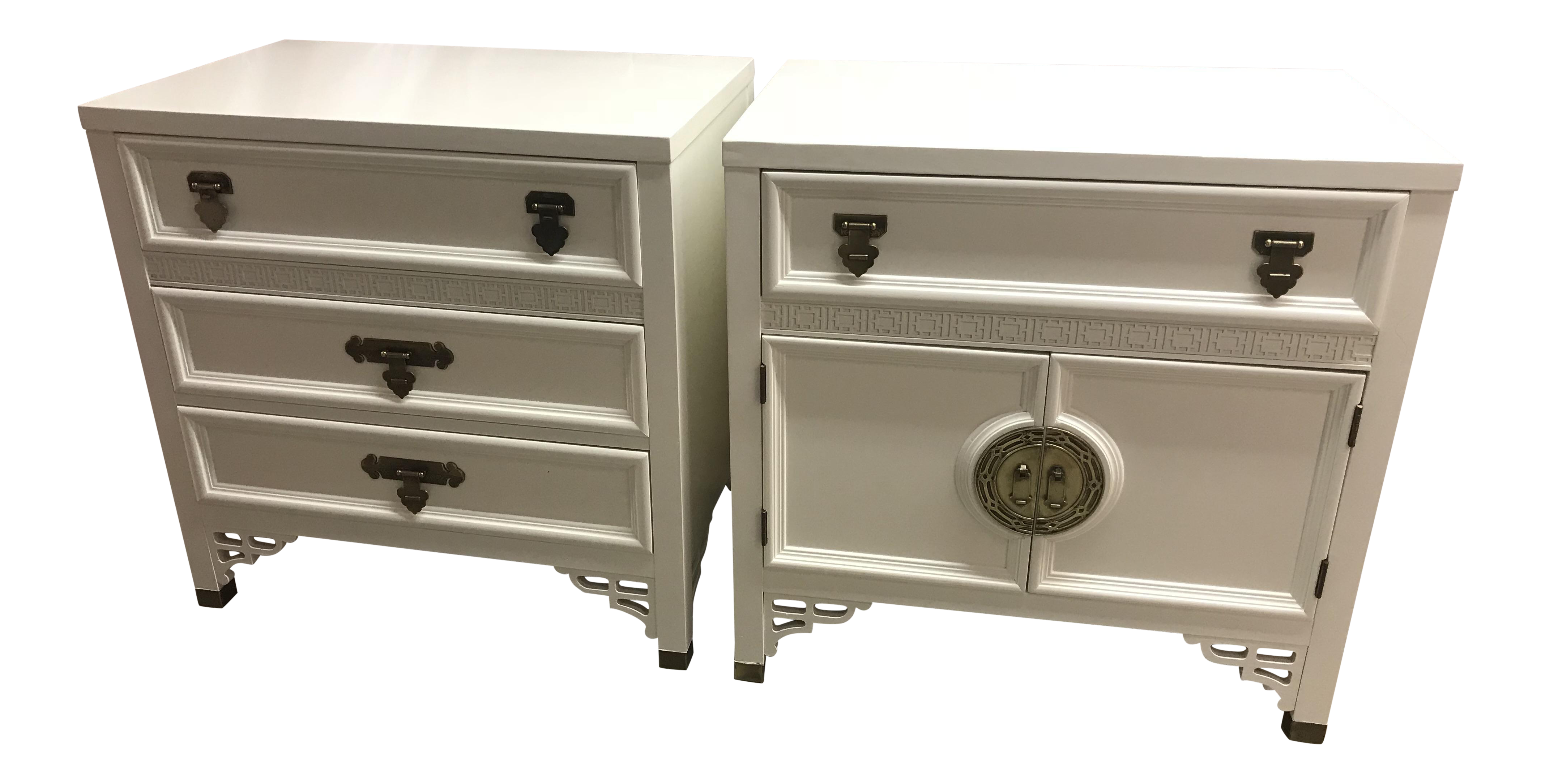 Vintage Chinoiserie Dixie Shangri La Fretwork Lacquered Nightstands   A  Pair   Chairish