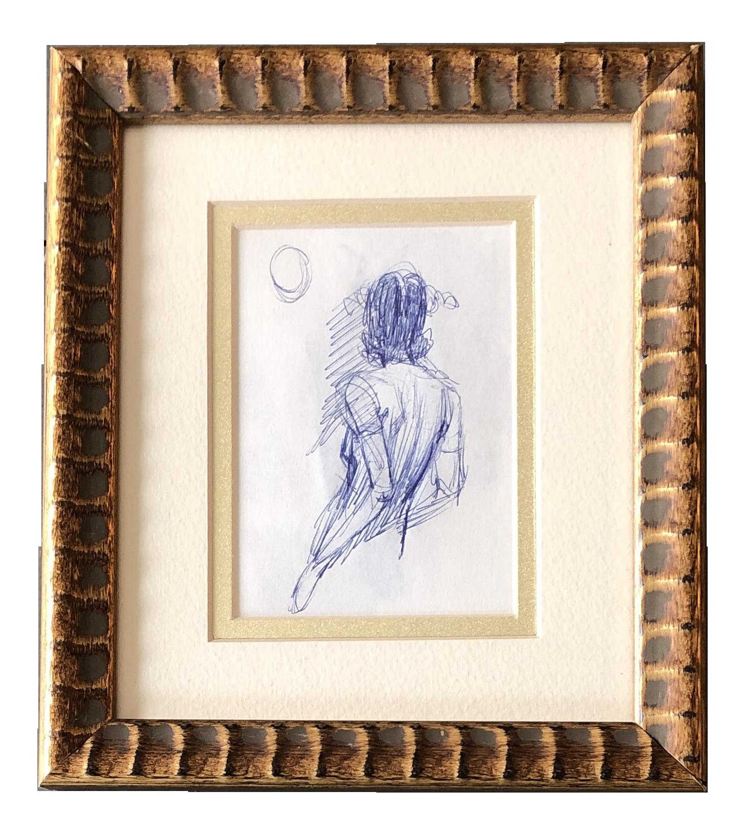 Original Vintage Ink Female Looking At Moon 1970 S Study Sketch Chairish