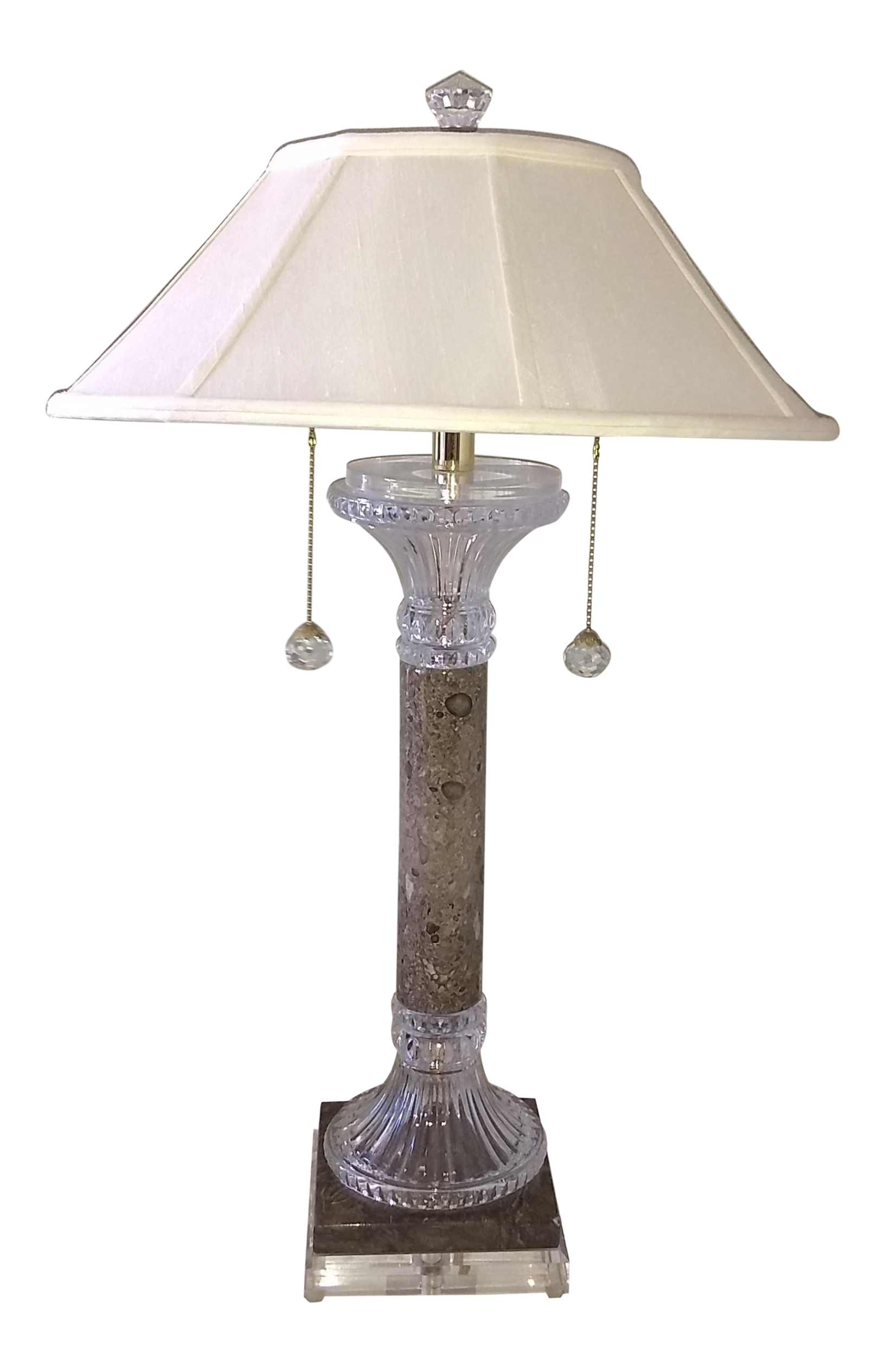 Crystal Clear Industries Marble Crystal Table Lamp With Shade