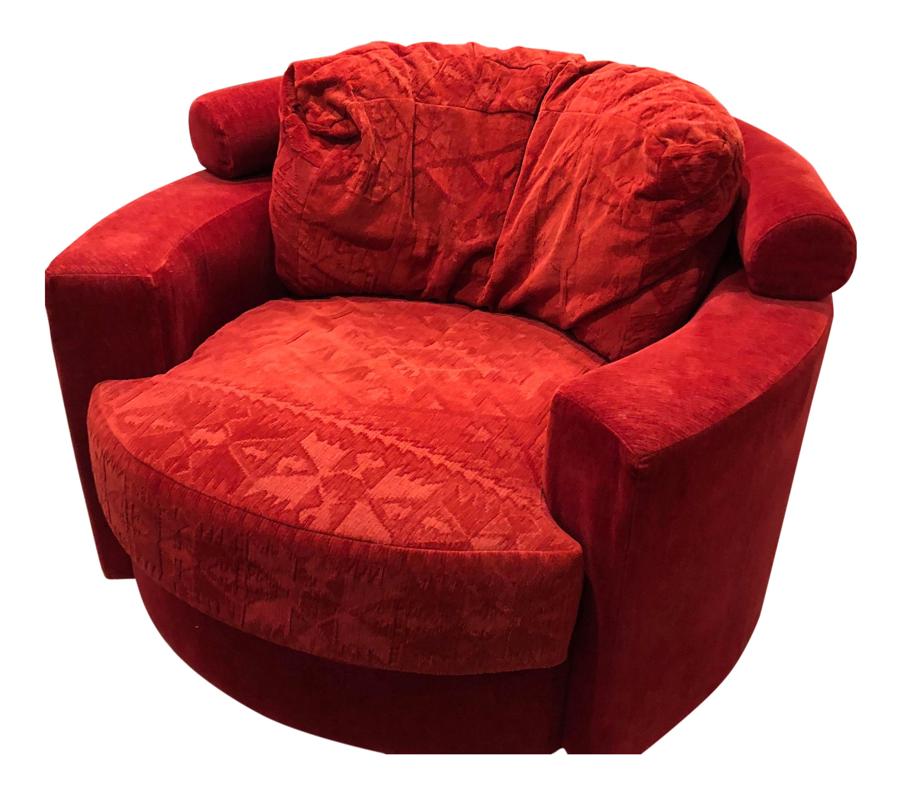 Admirable Vintage Vladimir Kagan For Roche Bobois Red Velvet Swivel Chair Cjindustries Chair Design For Home Cjindustriesco