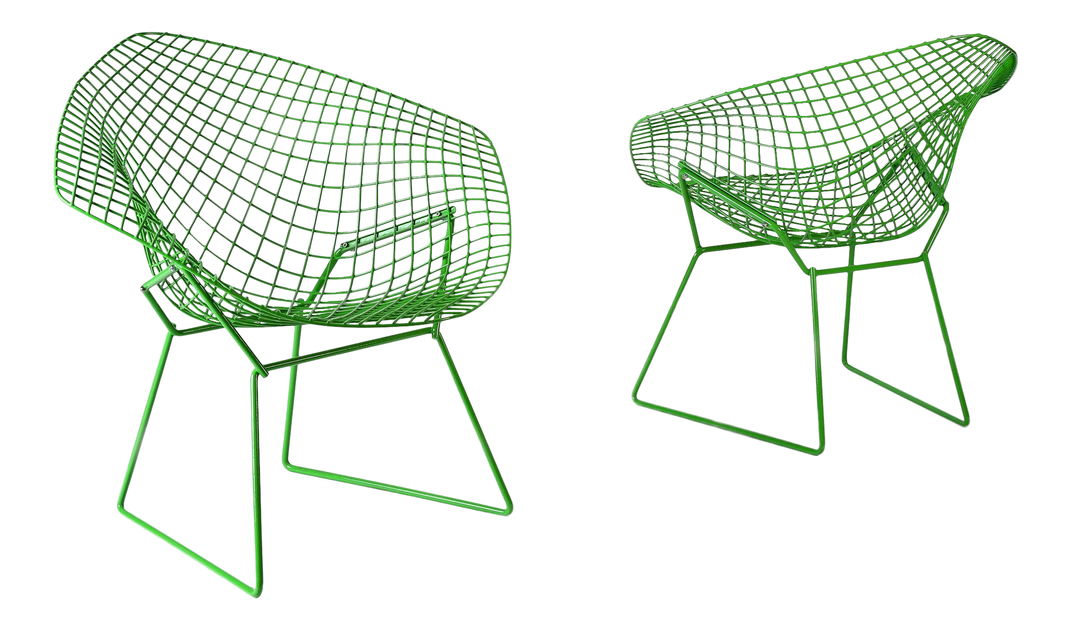 Excellent harry bertoia for knoll powder coated green diamond chairs a pair decaso