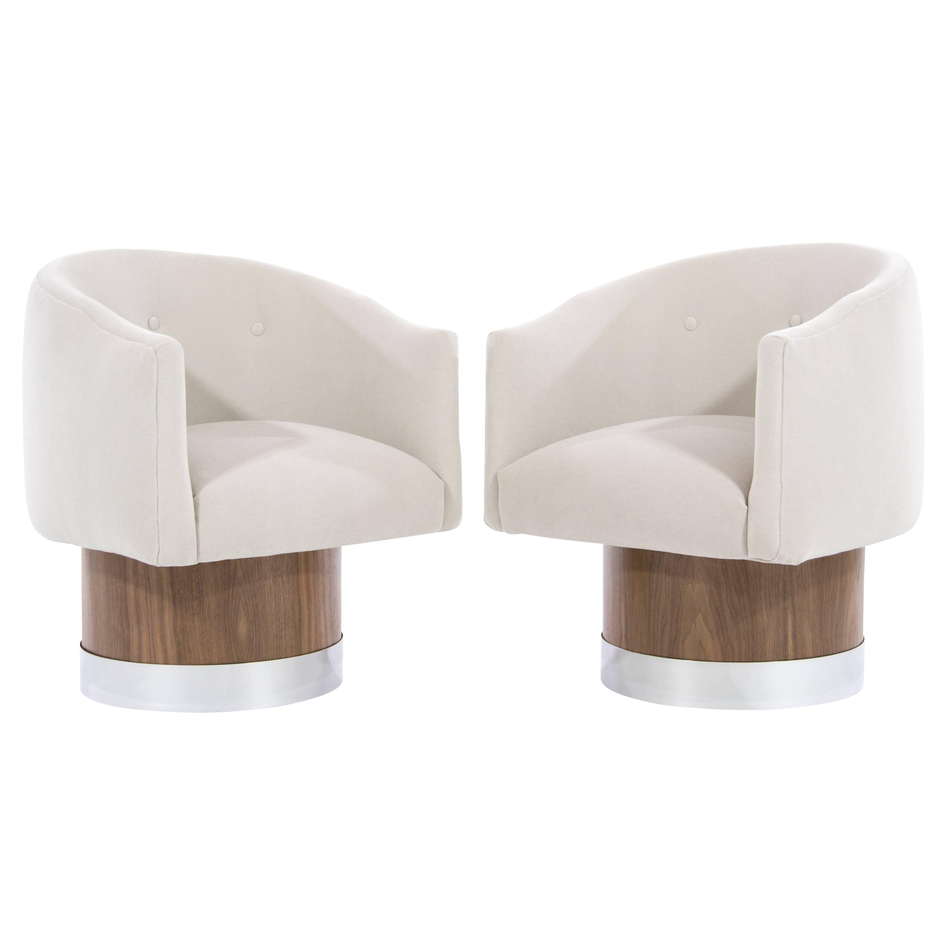 Distinguished Mid Century Modern Swivel Chairs On Walnut Bases By
