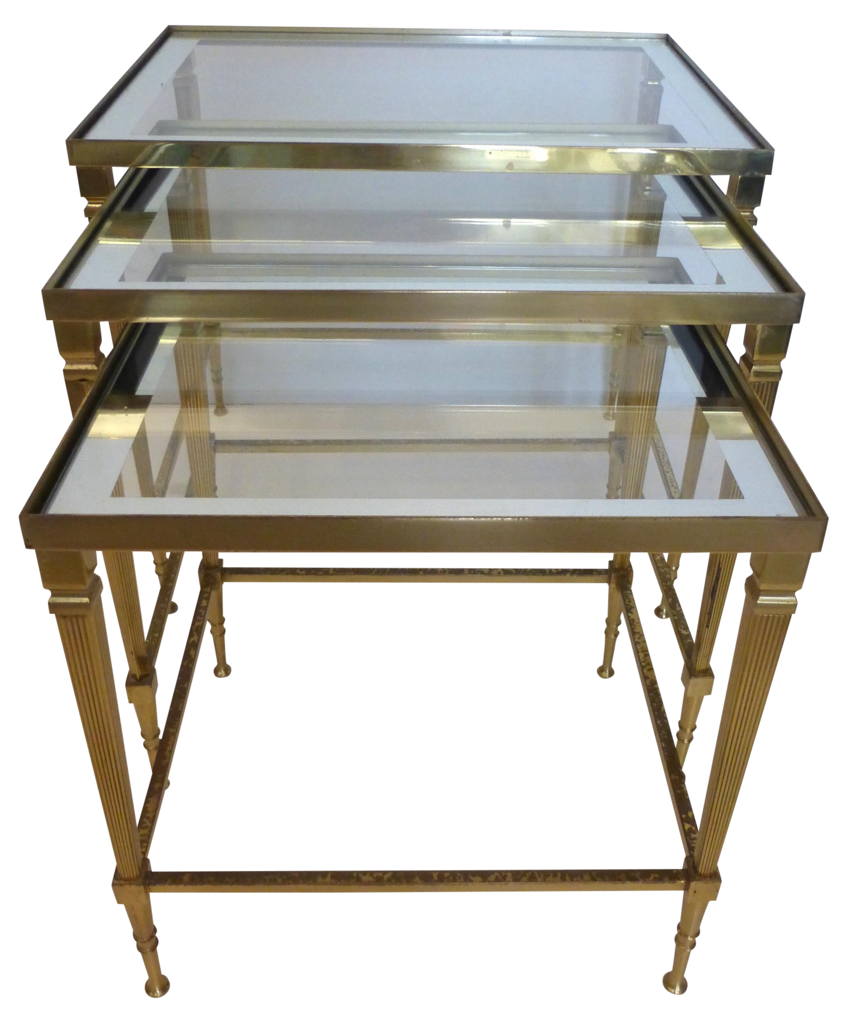 Mid century italian brass nesting tables 3 chairish for 0co om cca 9 source table