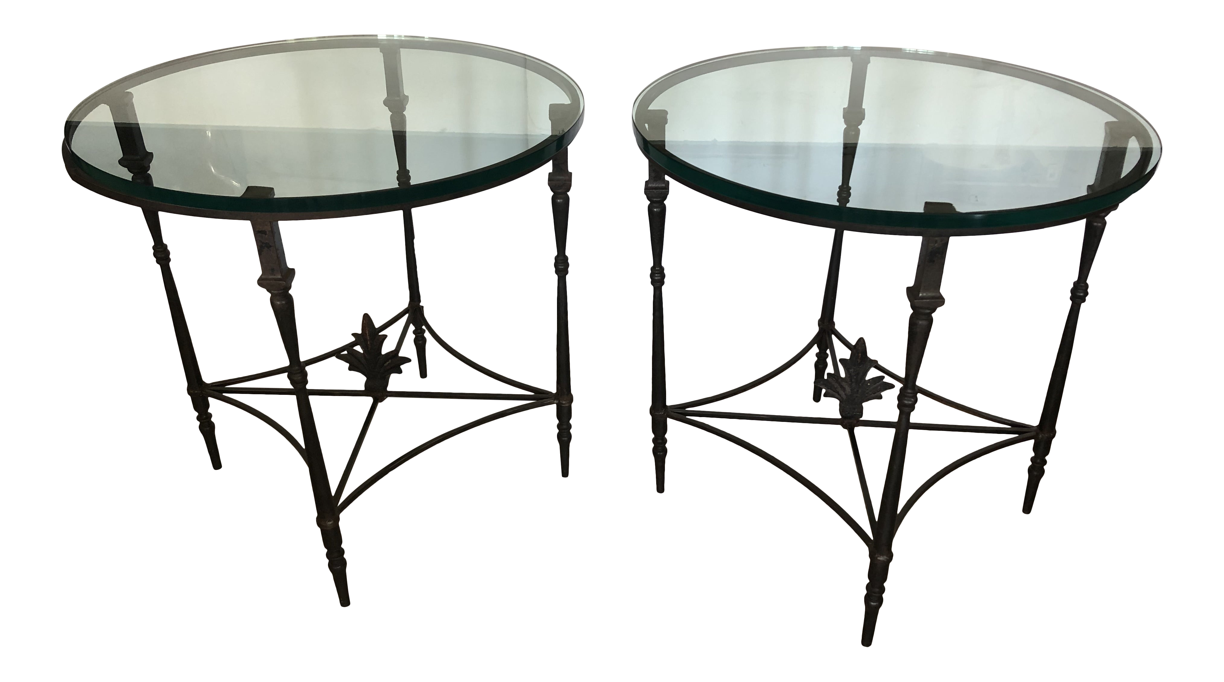 Iron And Glass Round Side End Tables With Fleur Di Lis Finials A Pair Chairish