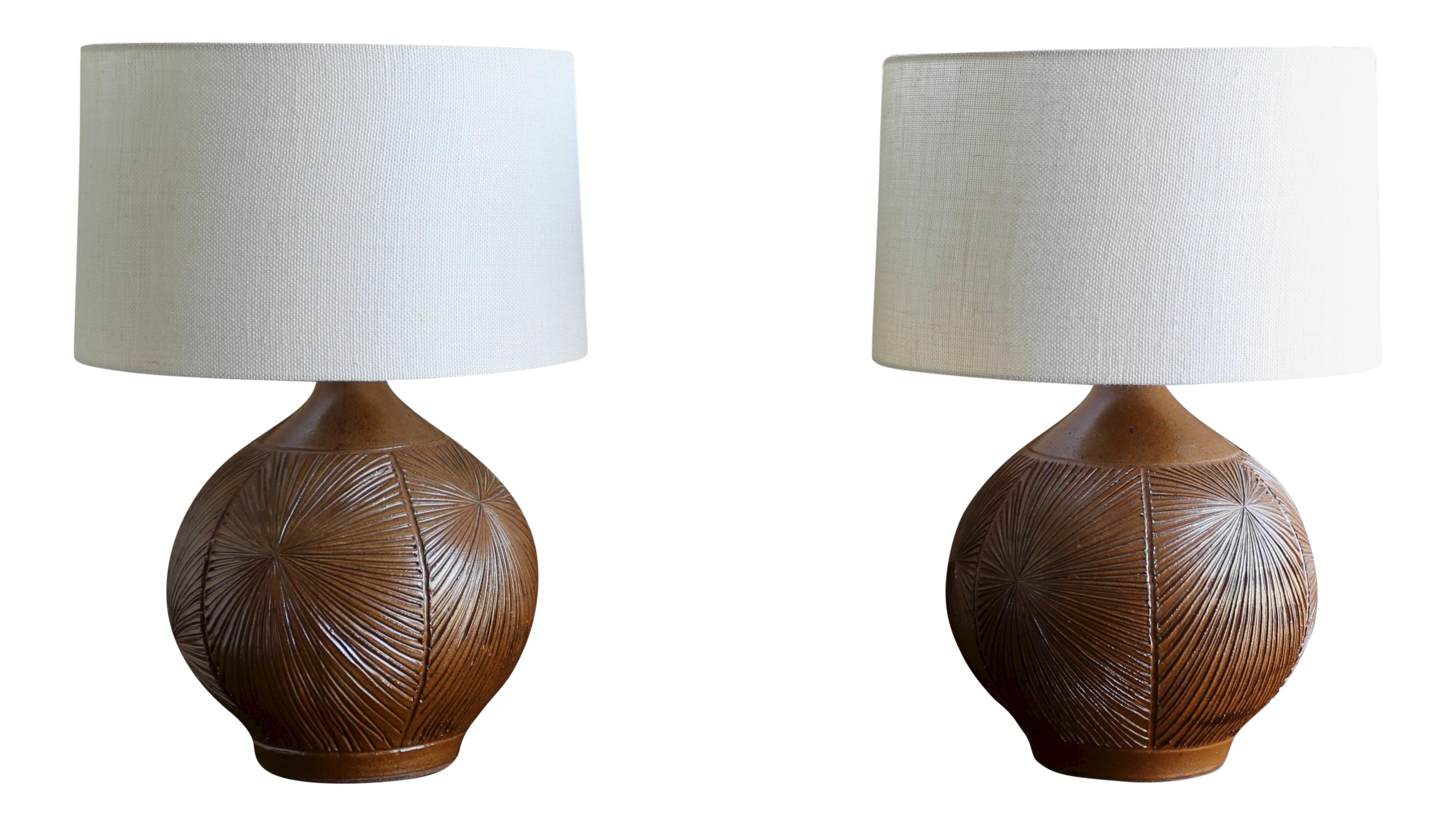 Distinguished Large Pair Of Earthgender Lamps By David Cressey &