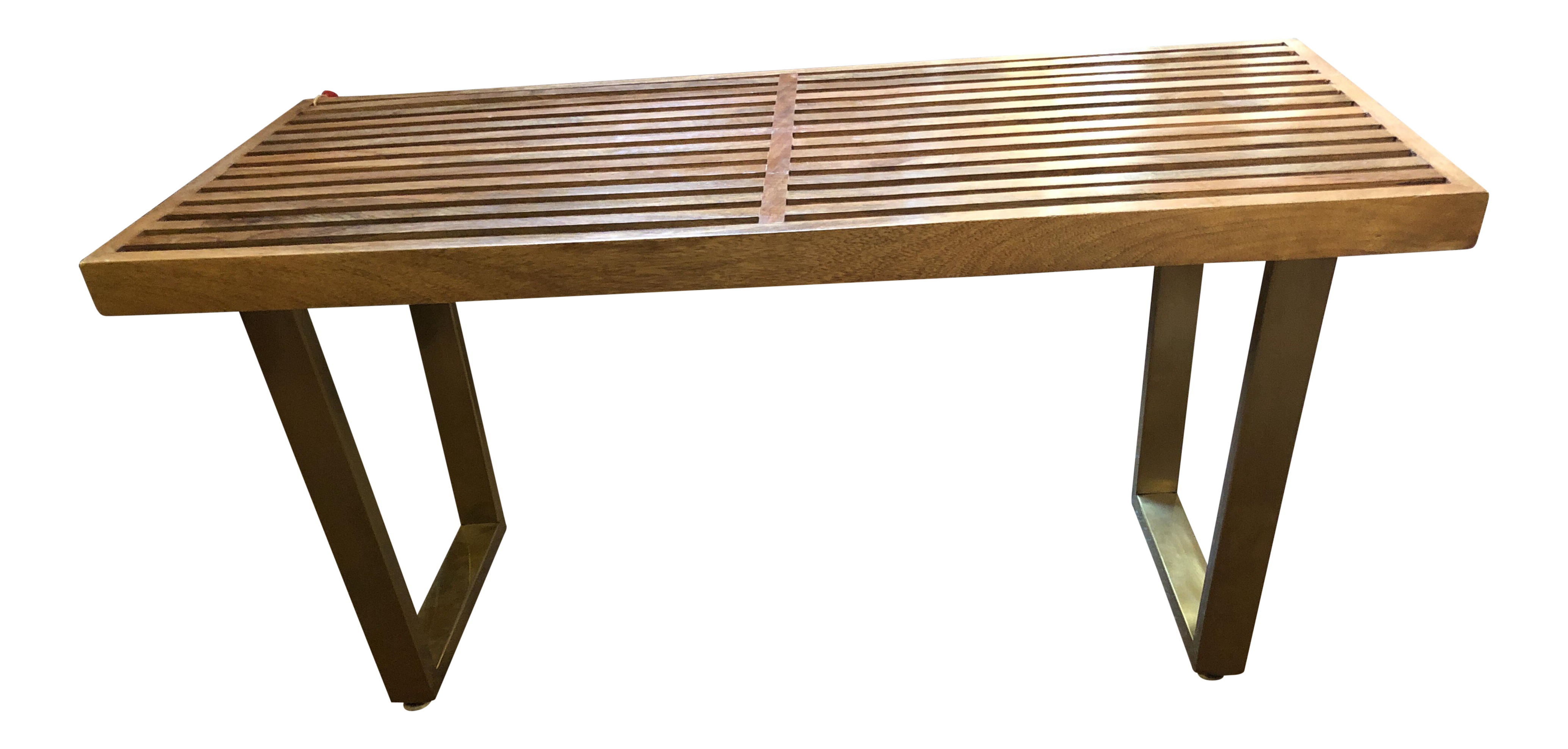 Admirable Mid Century Modern George Nelson Style Slat Bench Table With Brass Legs Theyellowbook Wood Chair Design Ideas Theyellowbookinfo