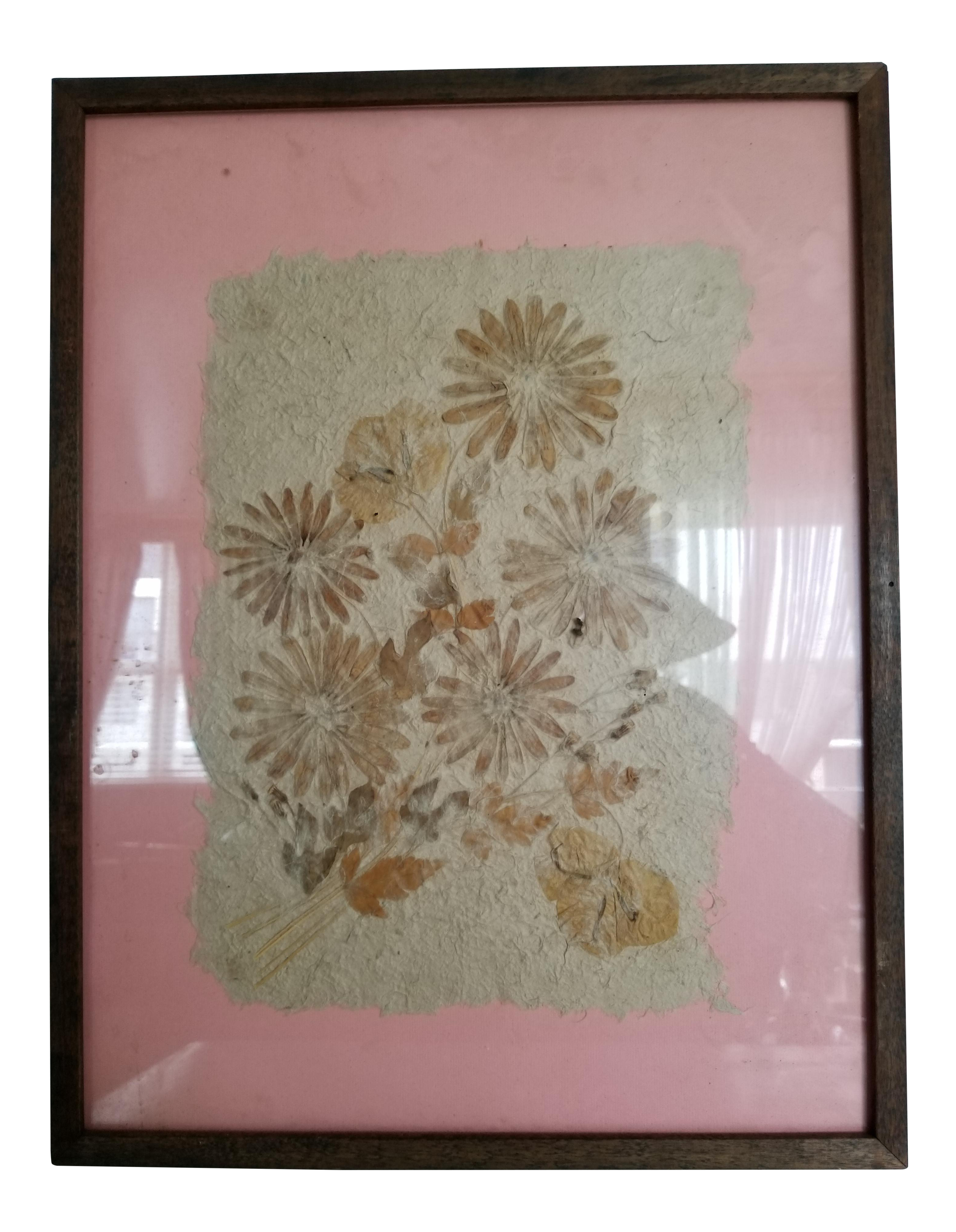 Mid-Century Framed Dried Flowers | Chairish