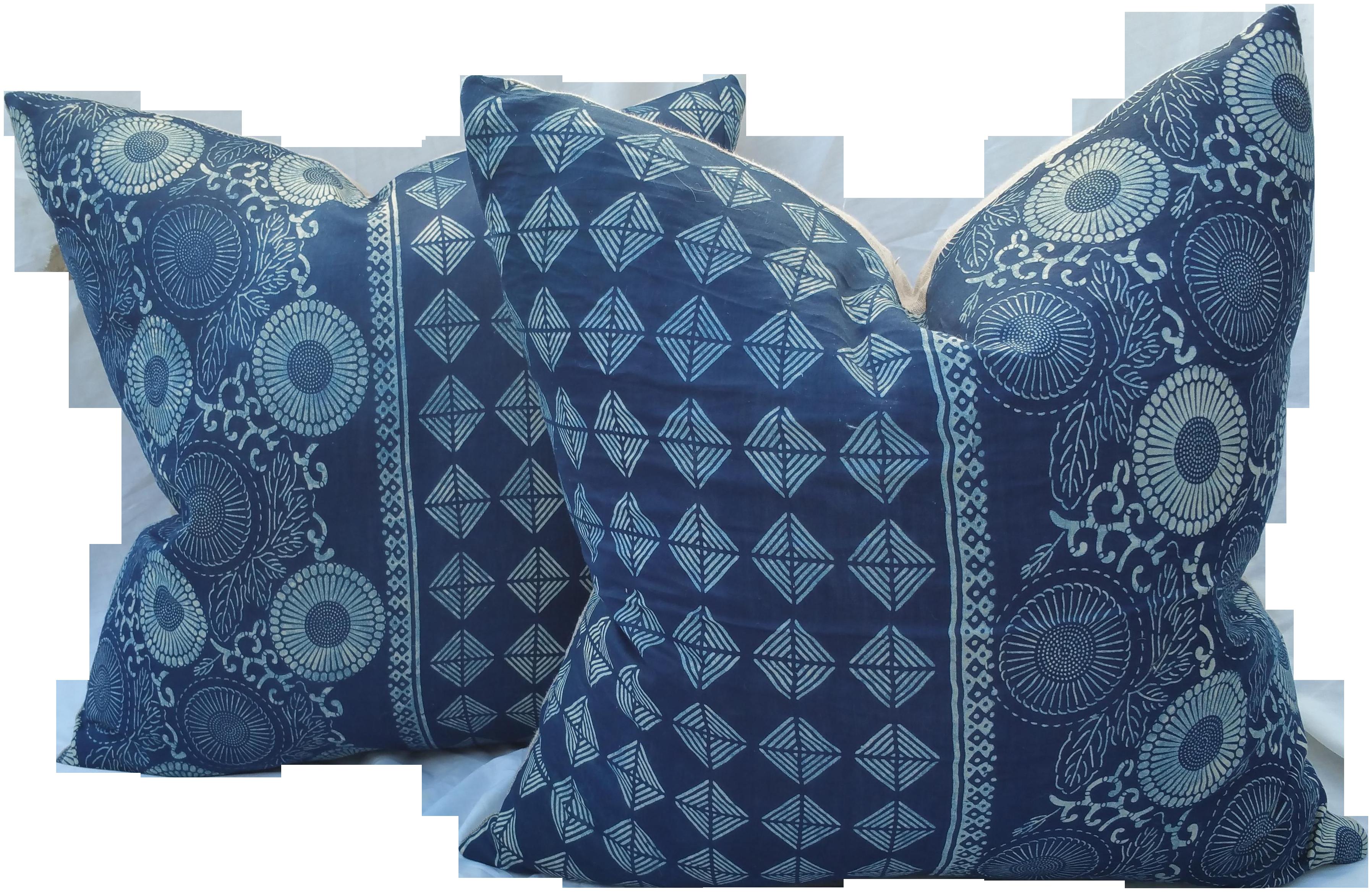 Well-liked Japanese Vintage Silk Batik Indigo Pillows | Chairish PD61