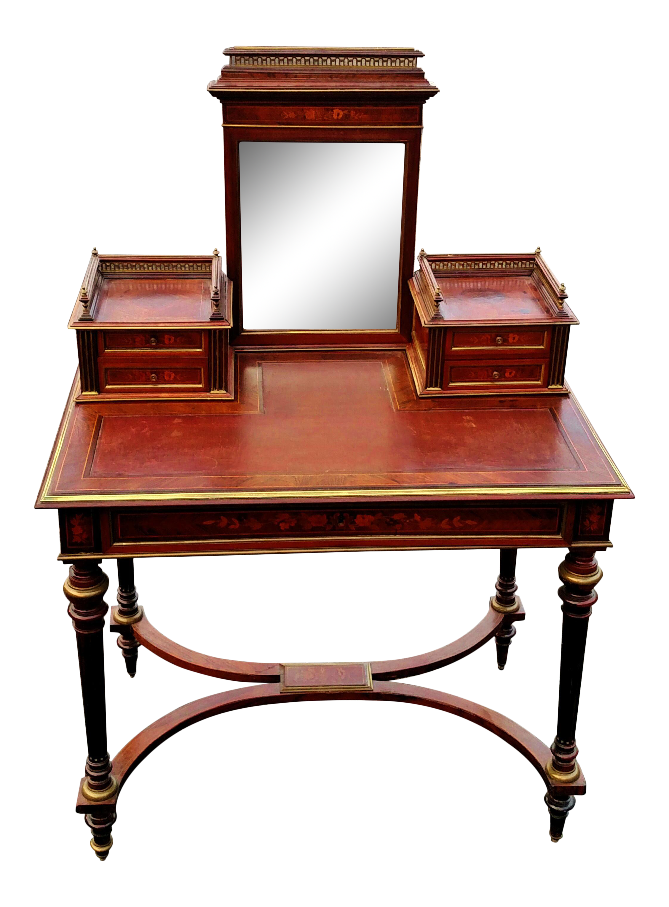 Antique 19th C French Satin Inlaid Bronze Mounted Leather Top Mirror Vanity Dressing Table Desk Chairish