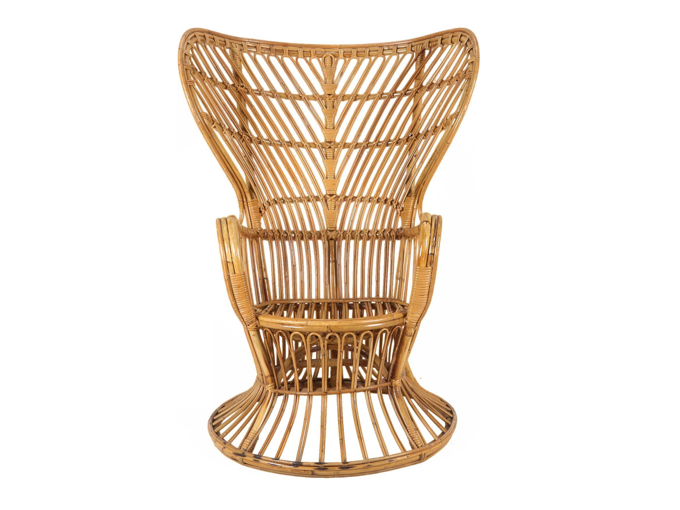1950s Mid Century Modern Franco Albini Style Rattan Bamboo Peacock Chair