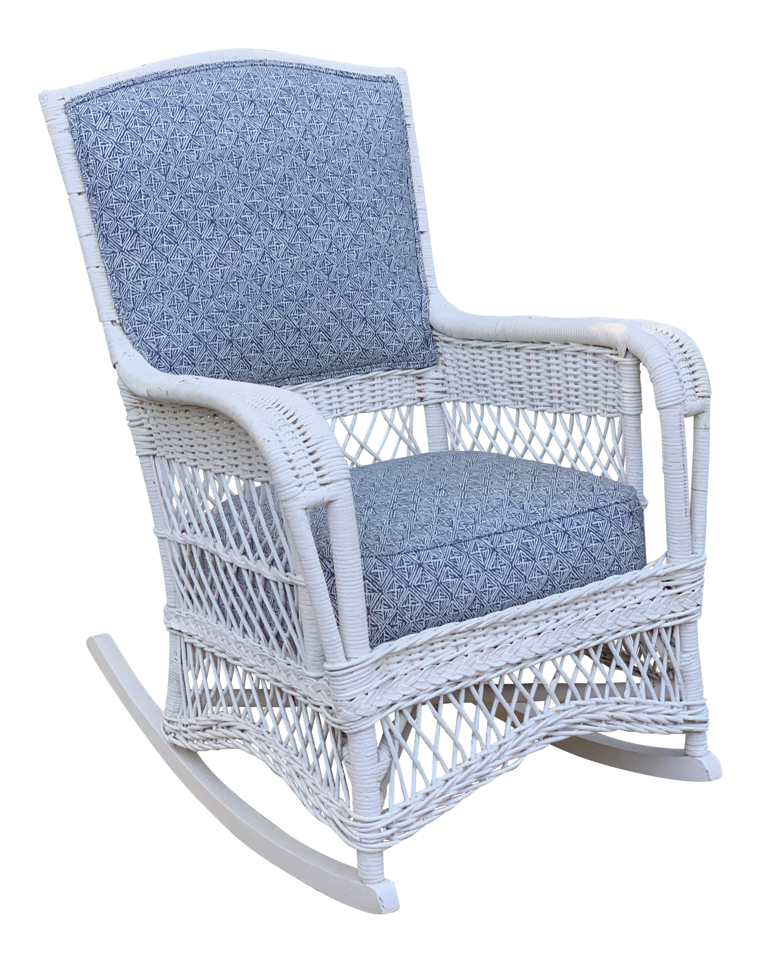Superb Early 20Th Century Victorian Heywood Wakefield White Wicker Rocking Chair Machost Co Dining Chair Design Ideas Machostcouk
