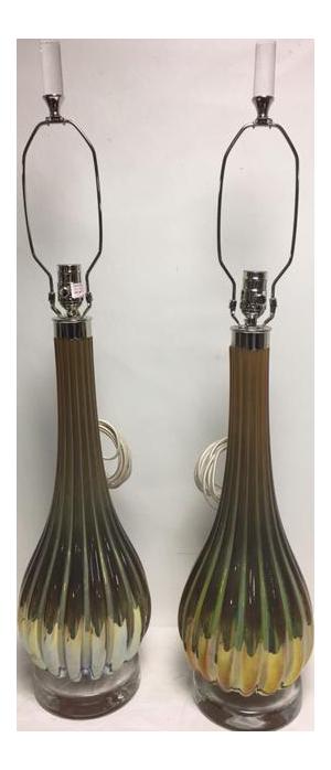 Art Glass Table Lamps A Pair Poland Chairish