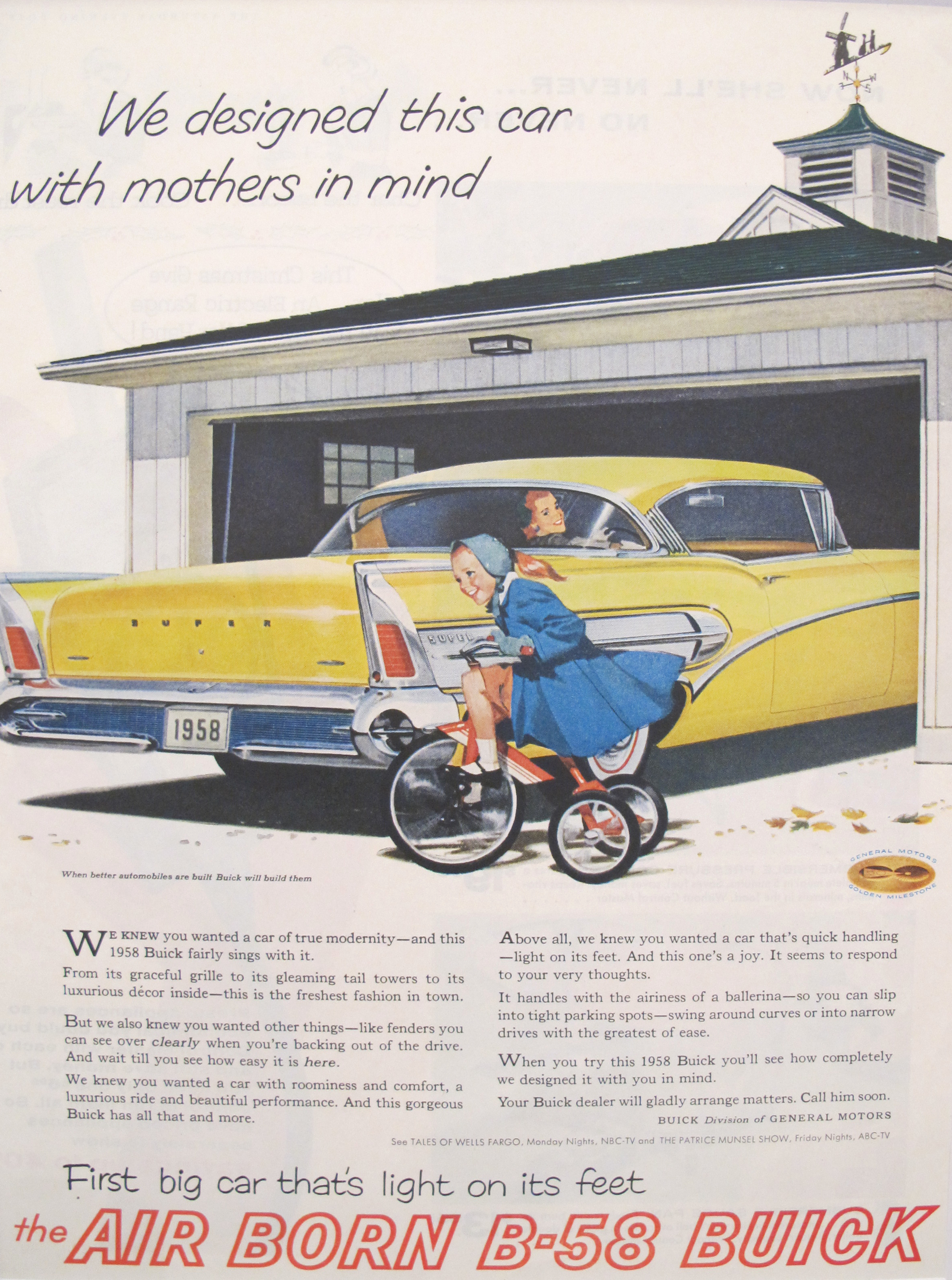 1958 Matted Vintage Car Ad, B-58 Buick | Chairish