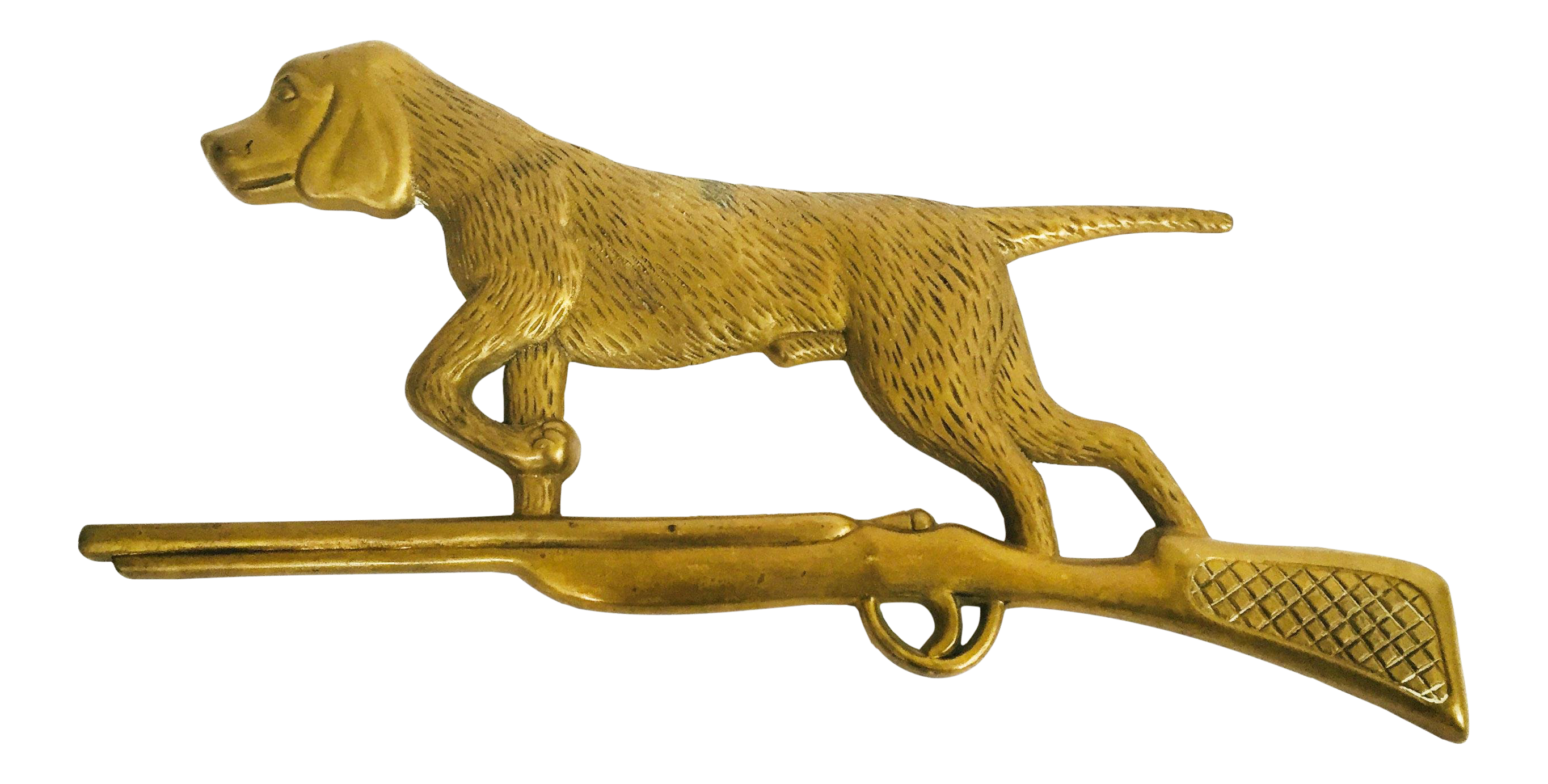 Vintage Brass Hunting Dog Wall Plaque | Chairish