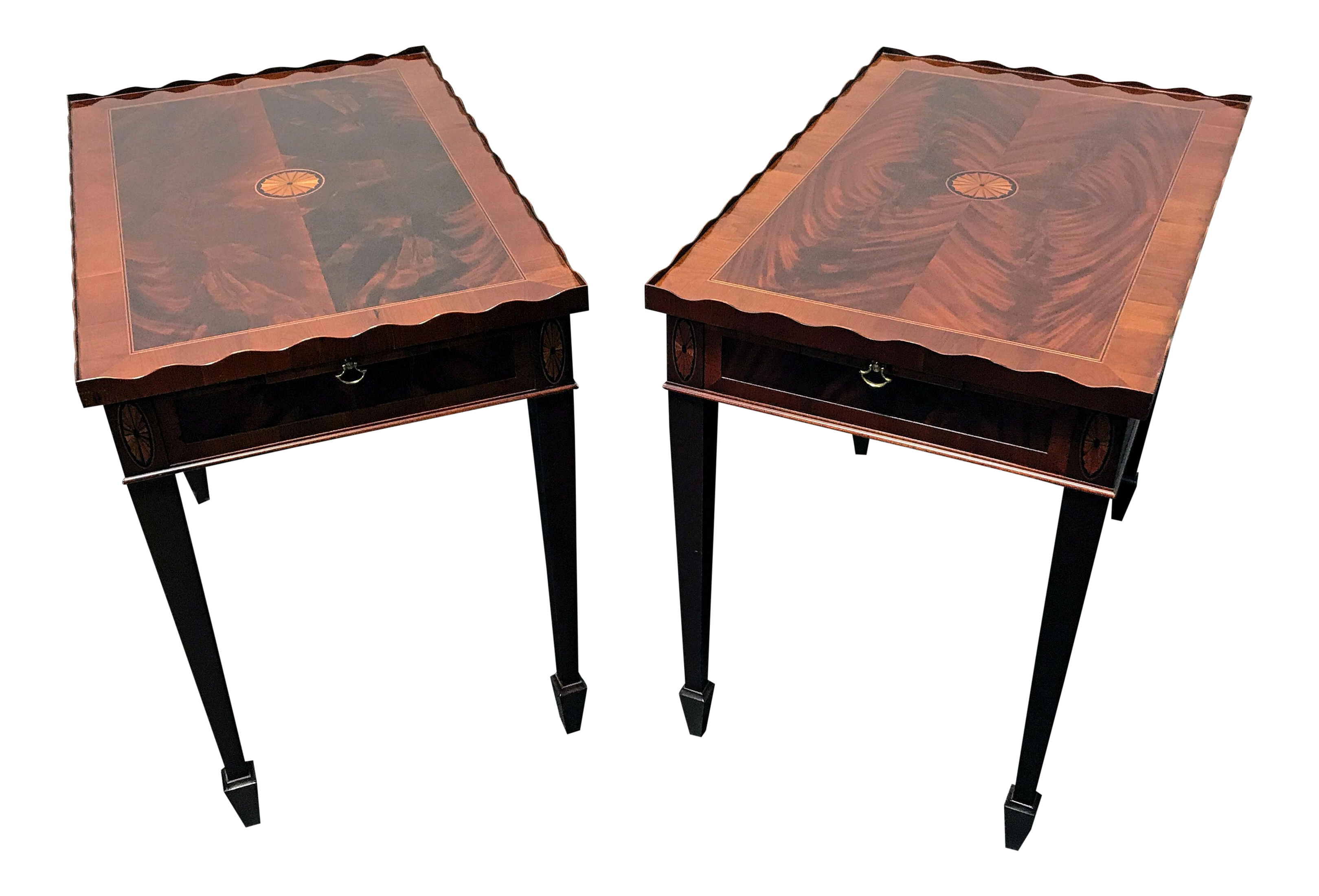 Hekman Copley Place Federal Style Inlaid Flame Mahogany Tea Tables   A Pair  | Chairish