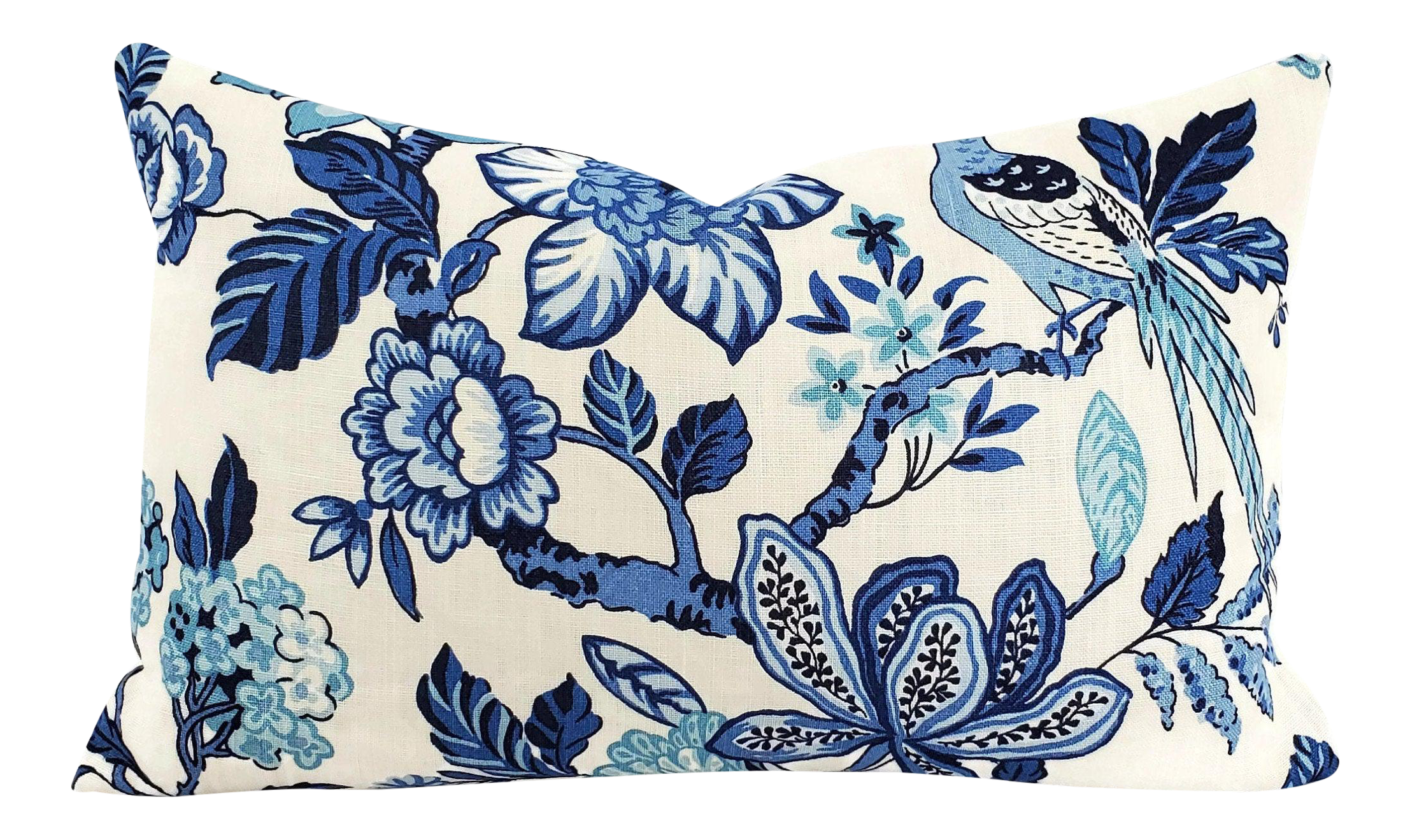 F Schumacher Huntington Gardens In Bleu Marine Lumbar Pillow Cover 16 X 26 Blue And Cream Floral Large Rectangle Cushion Case Chairish
