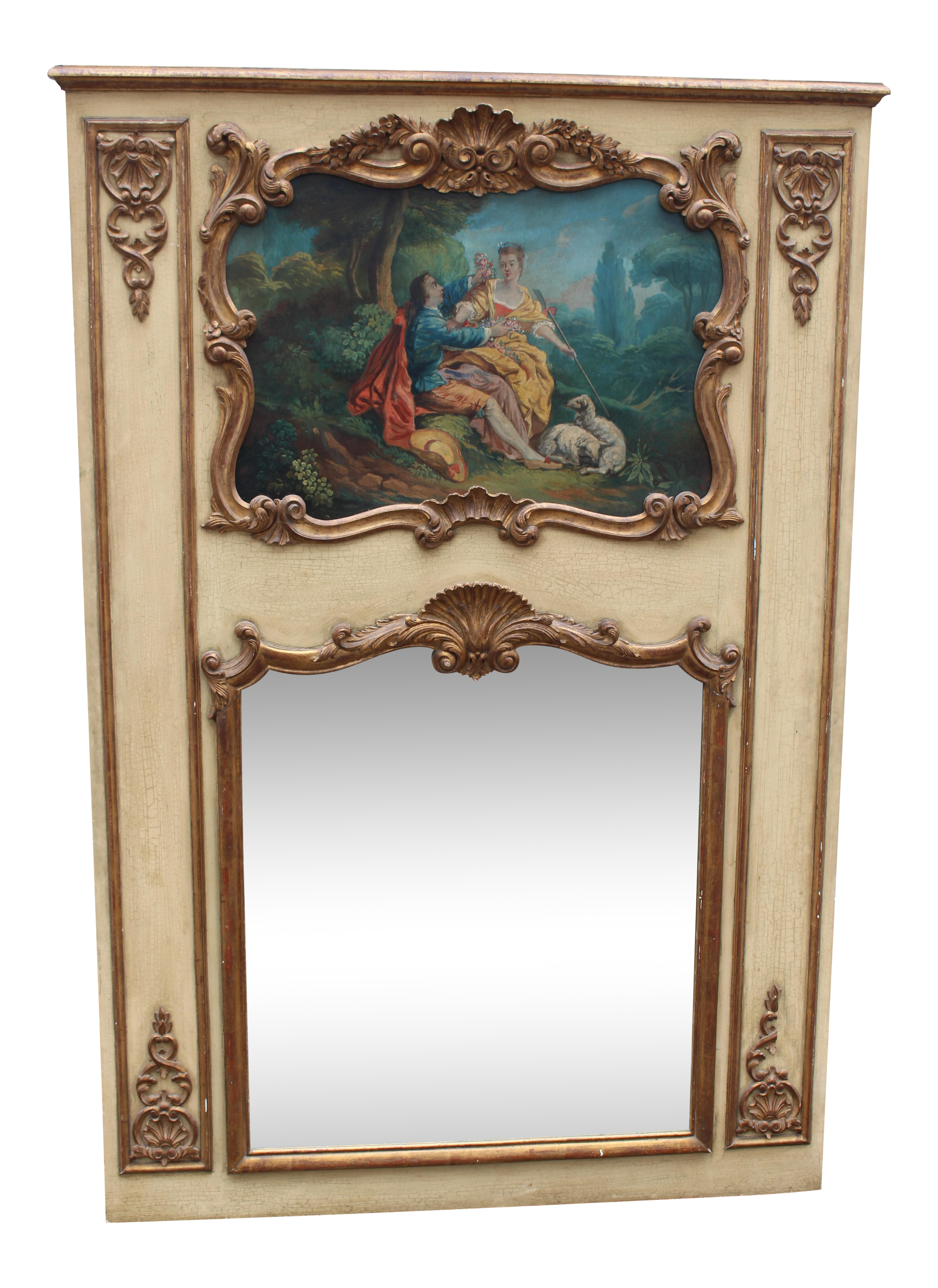 C.19 French Louis XVI Painted & Gilt Trumeau Wall Mirror With Oil ...