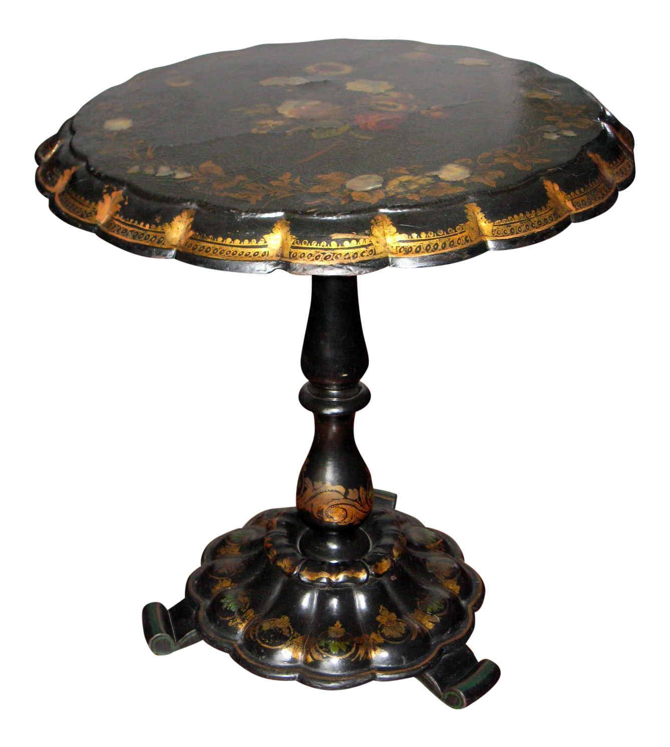 Antique Paper Mache Tilt Top Table With Mother Of Pearl Inlays | Chairish