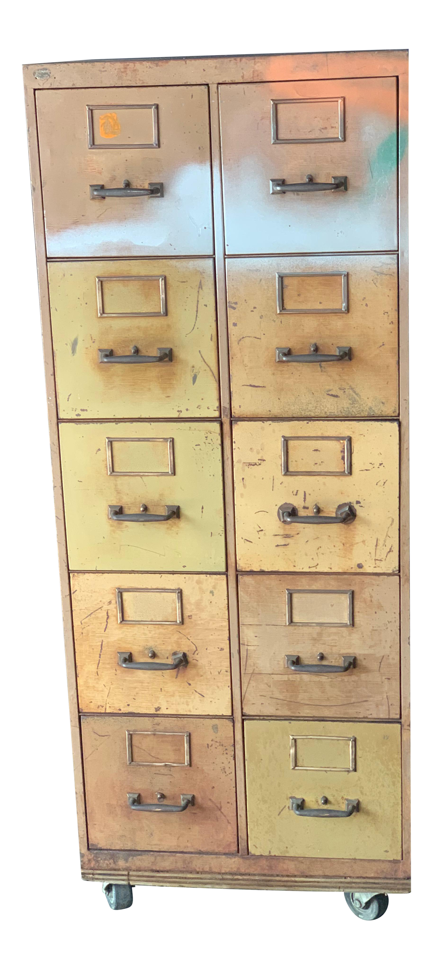 Picture of: Vintage Industrial Rolling 10 Drawer Metal File Cabinet Chairish