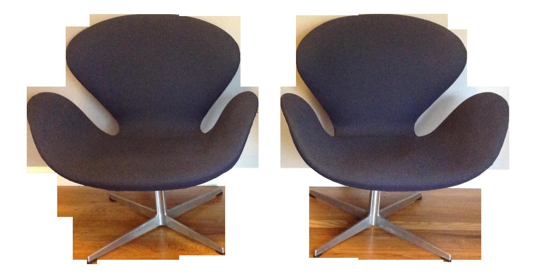 arne jacobsen swan chairs pair chairish