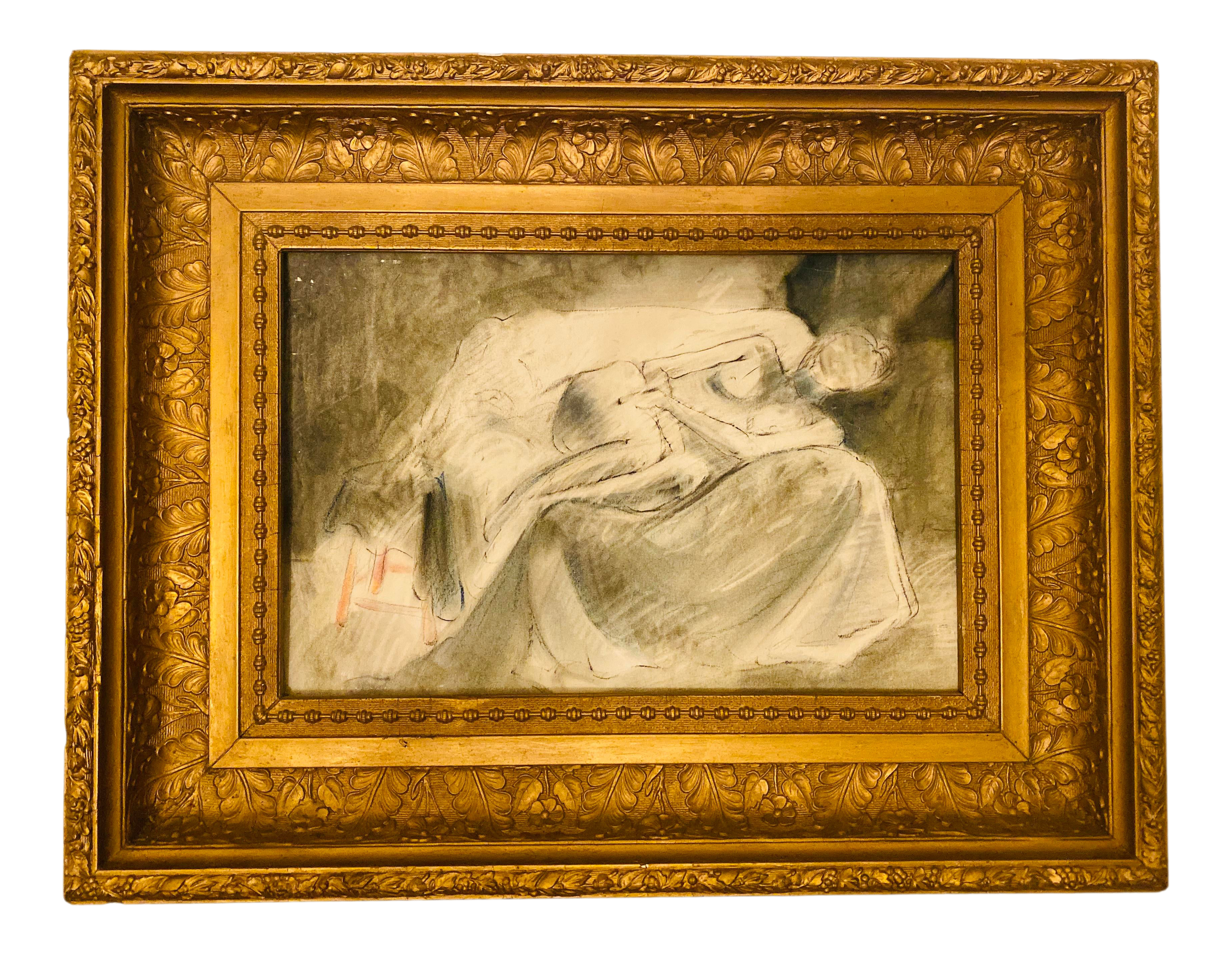 Vintage Nude Female On Sofa Charcoal Pencil Sketch Drawing In Baroque Carved Gold Gilt Gesso Frame Chairish