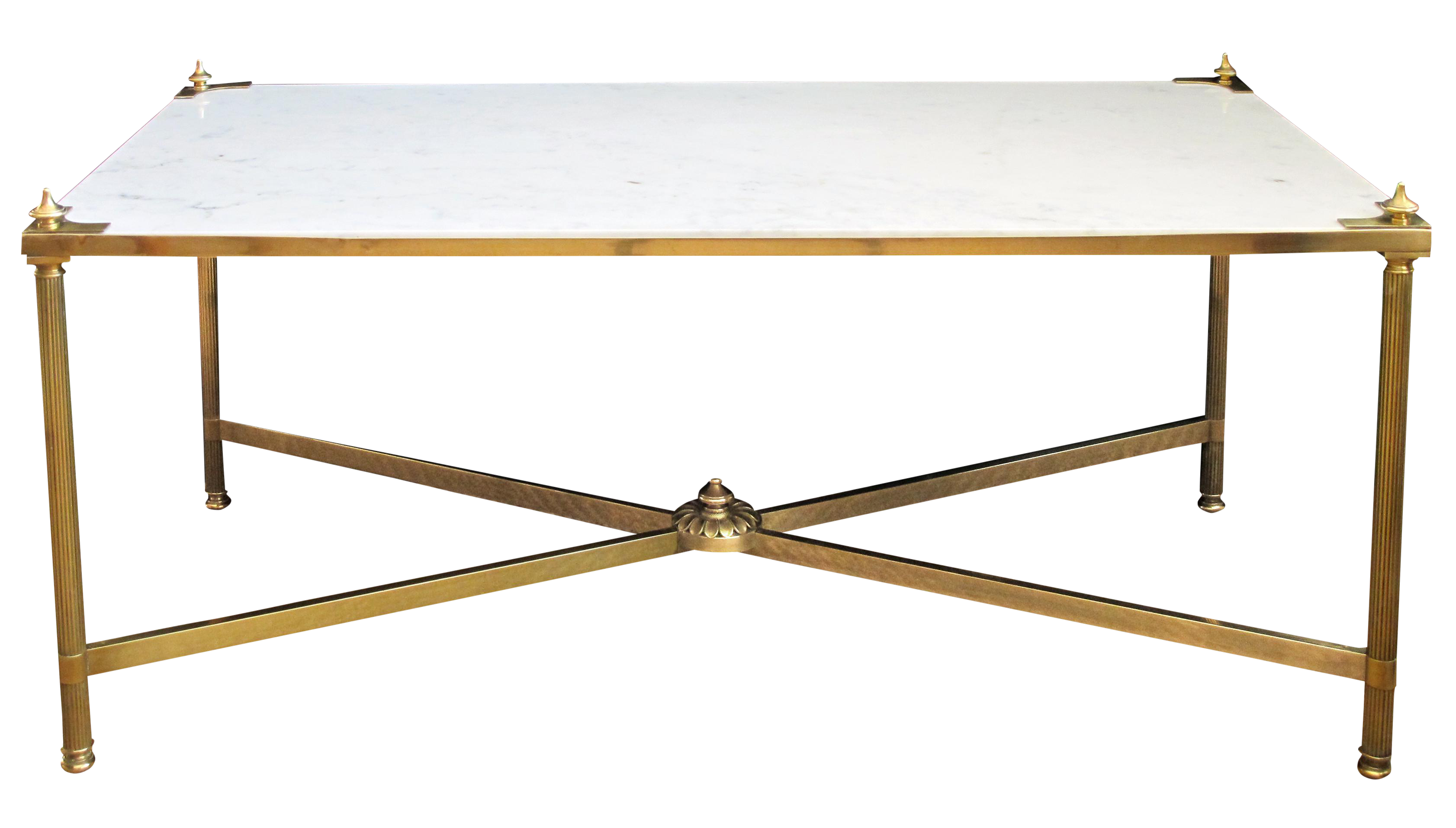 Marble Top Brass Coffee Table.French Maison Jansen Neoclassical Style Brass Coffee Table With Marble Top