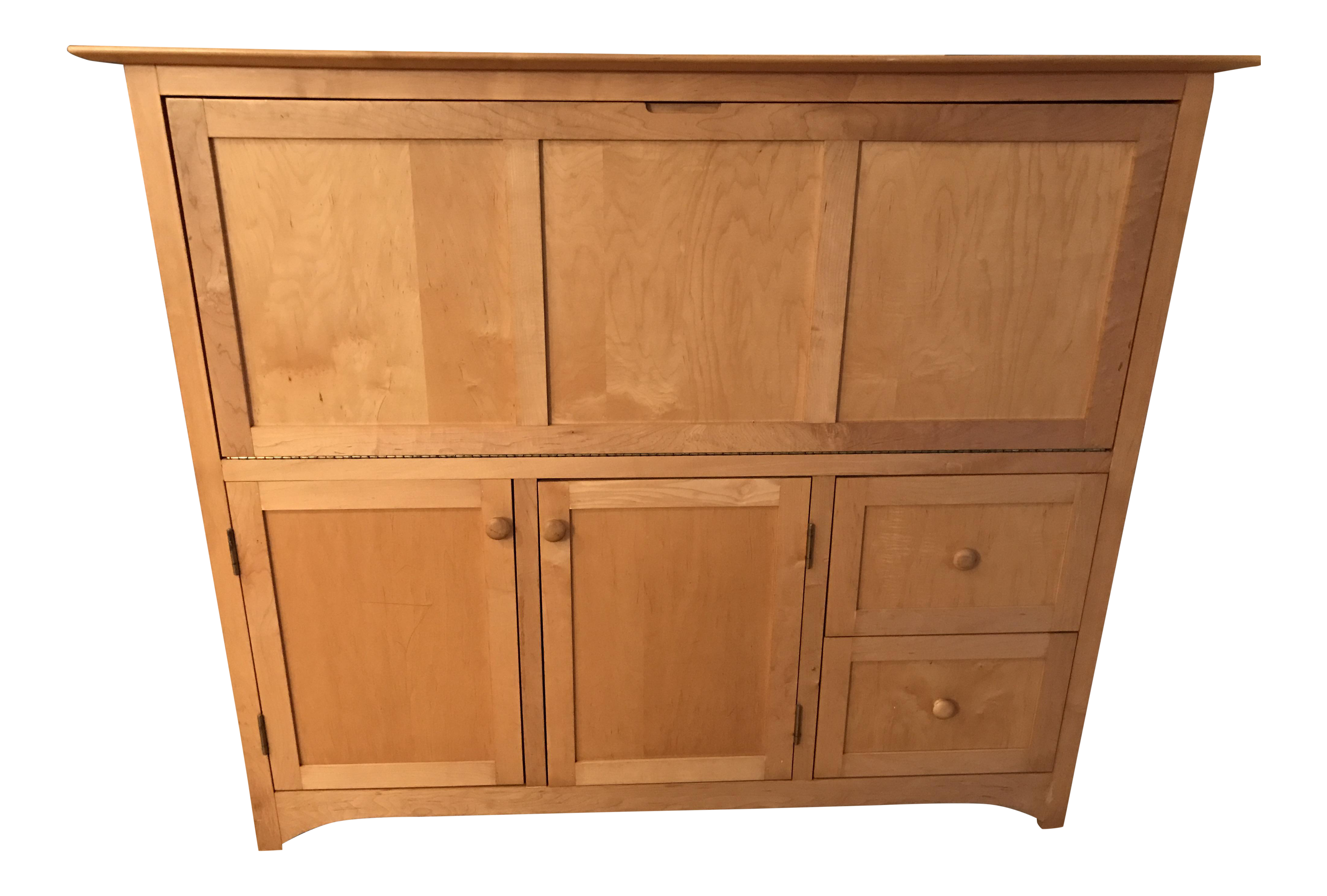 Copeland furniture vermont maple secretary desk cabinet chairish