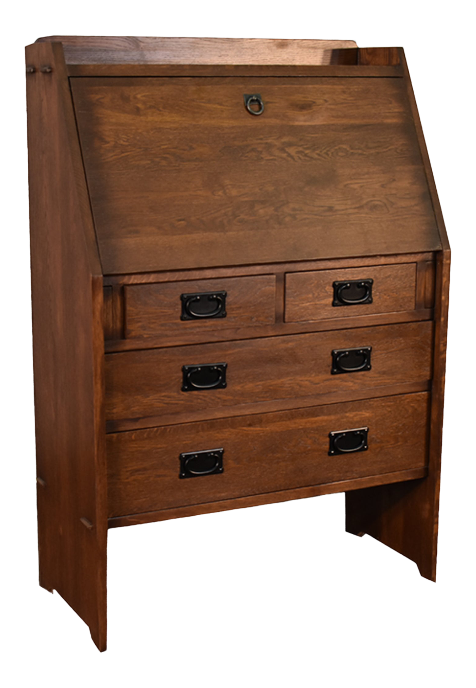 Crafters And Weavers Arts And Crafts Mission Solid Oak Secretary Desk Dark Brown Chairish